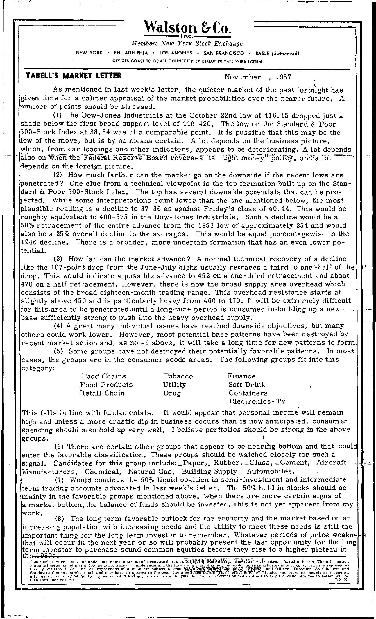 Tabell's Market Letter - November 01, 1957