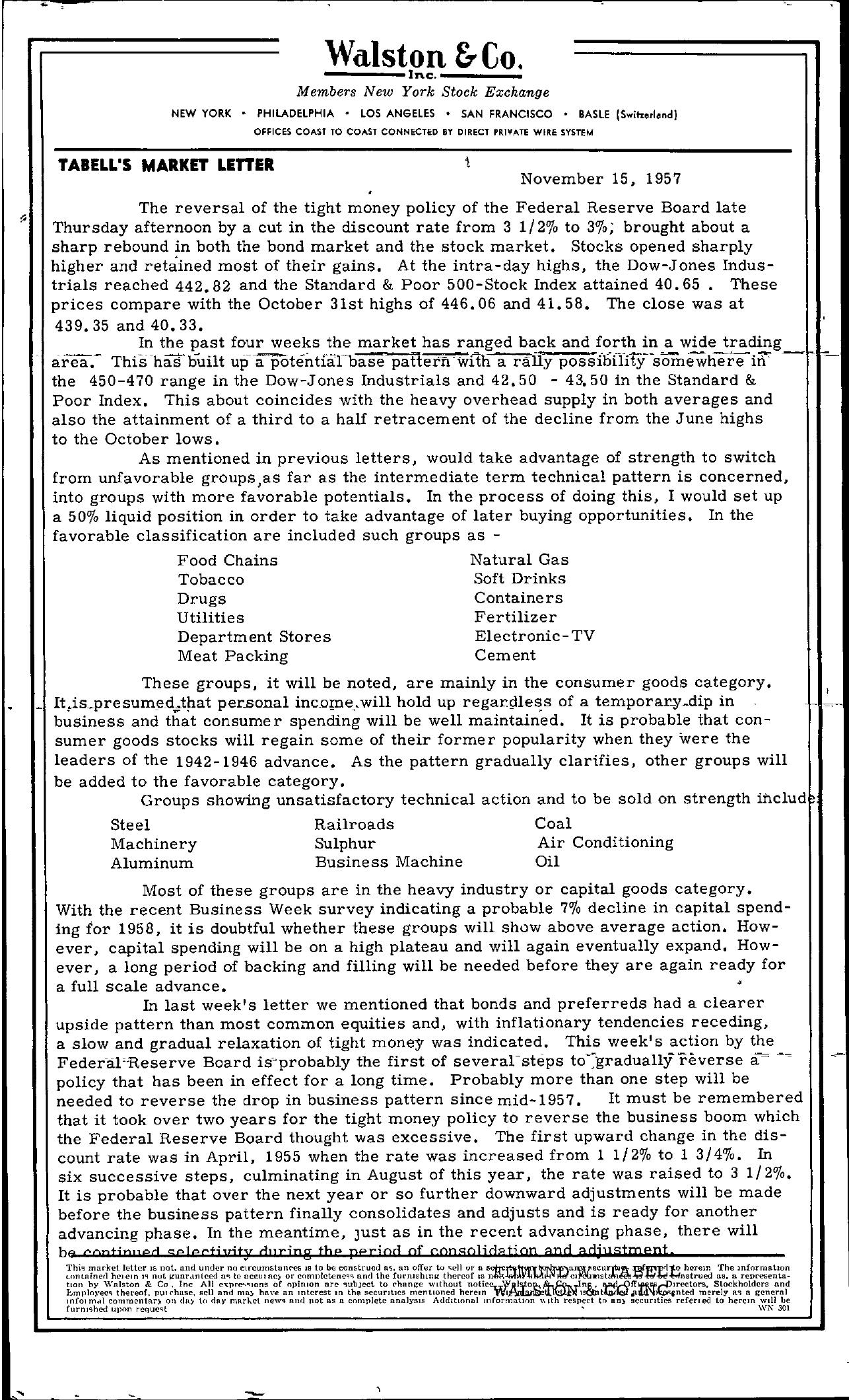 Tabell's Market Letter - November 15, 1957