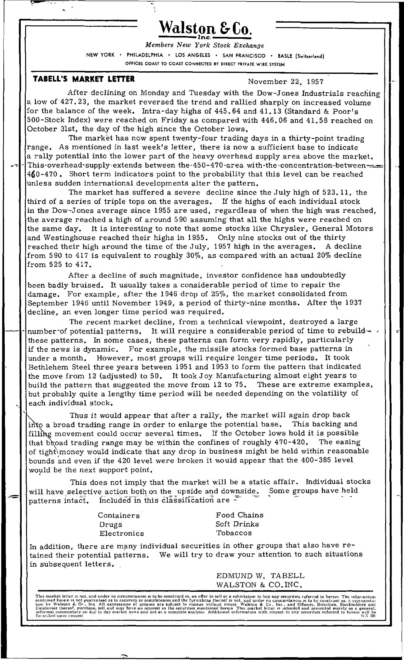 Tabell's Market Letter - November 22, 1957