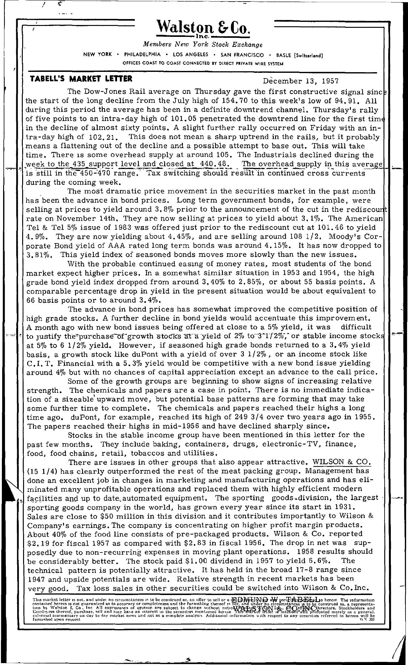 Tabell's Market Letter - December 13, 1957