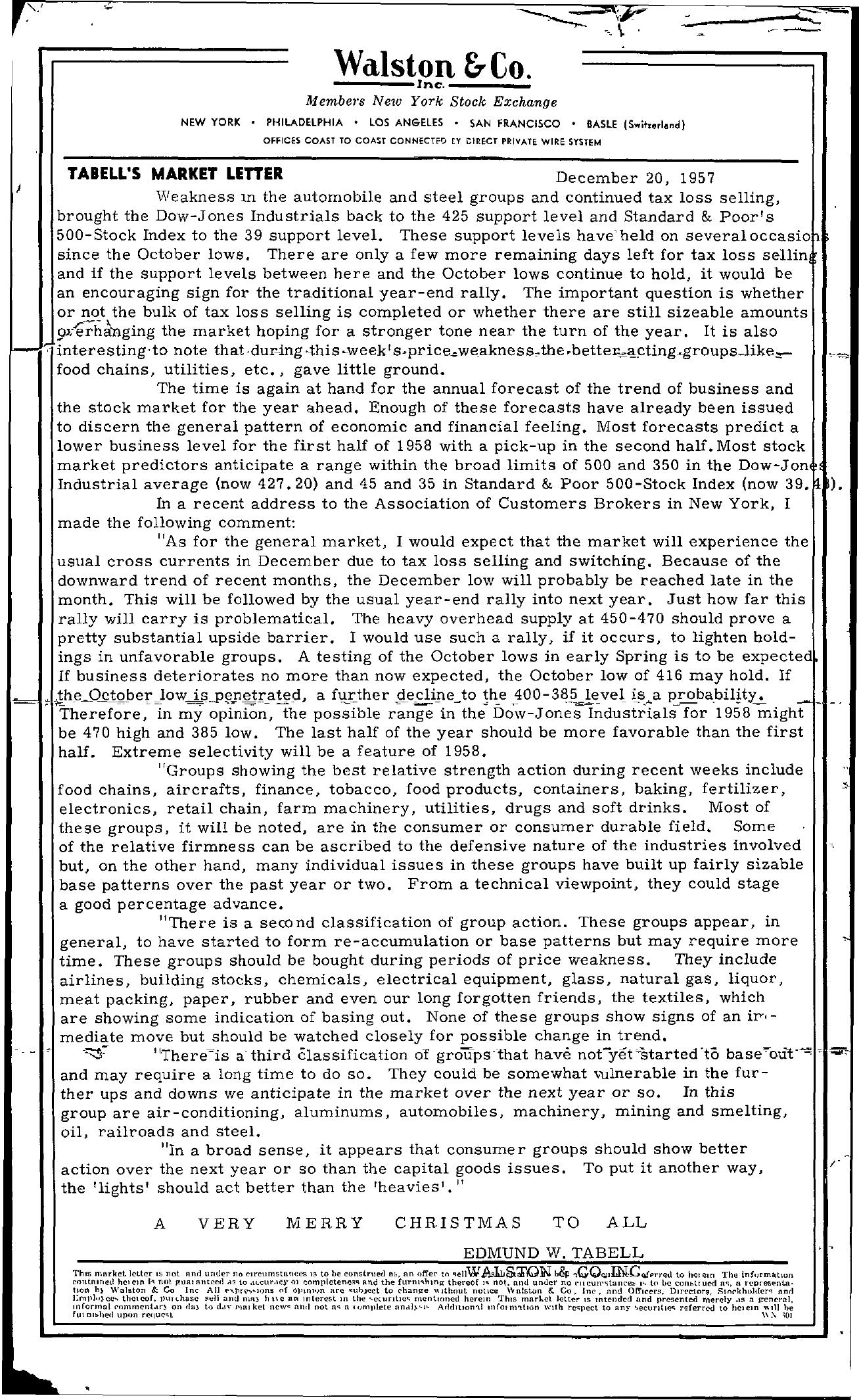 Tabell's Market Letter - December 20, 1957