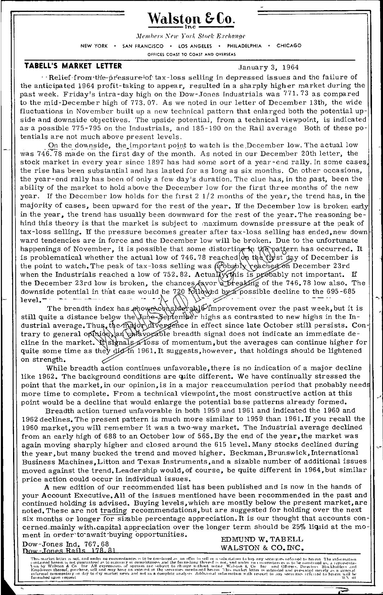 Tabell's Market Letter - January 03, 1964