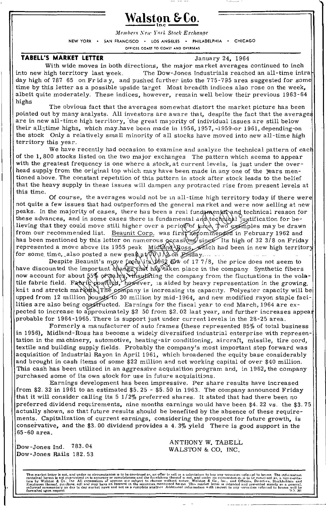 Tabell's Market Letter - January 24, 1964
