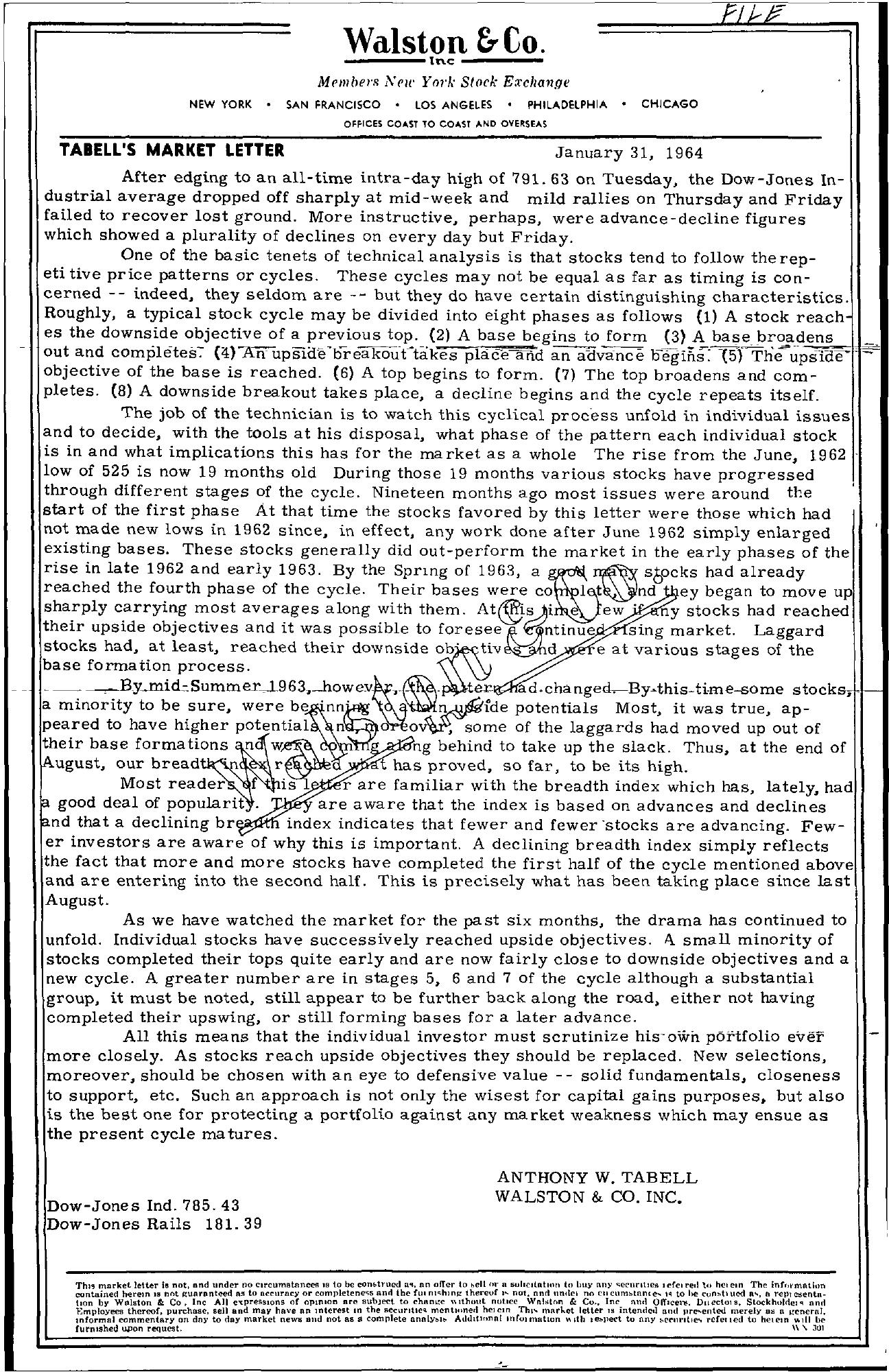 Tabell's Market Letter - January 31, 1964
