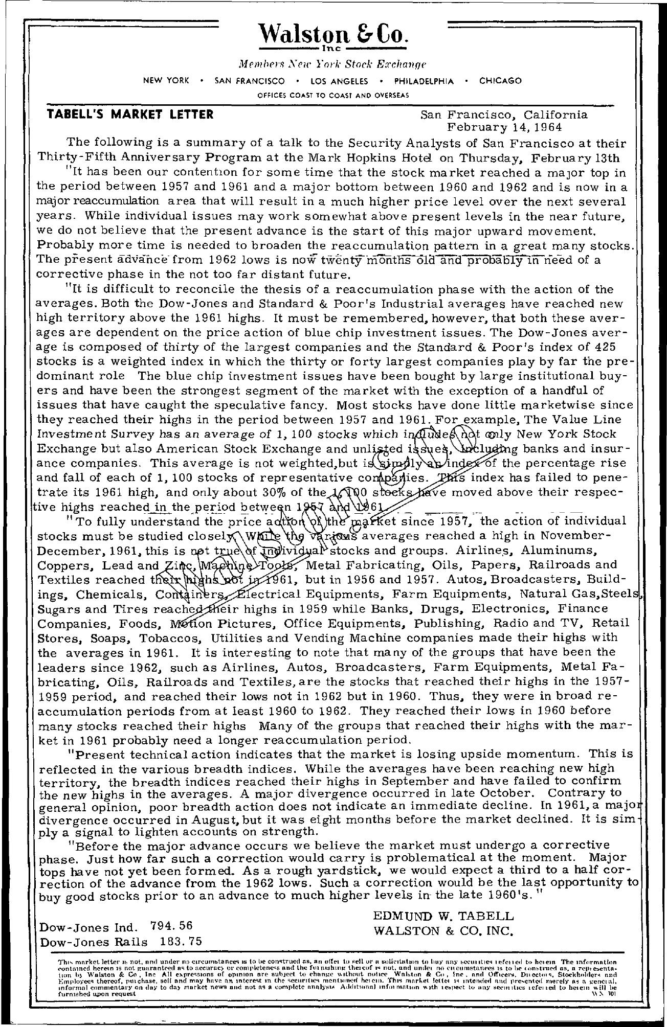 Tabell's Market Letter - February 14, 1964