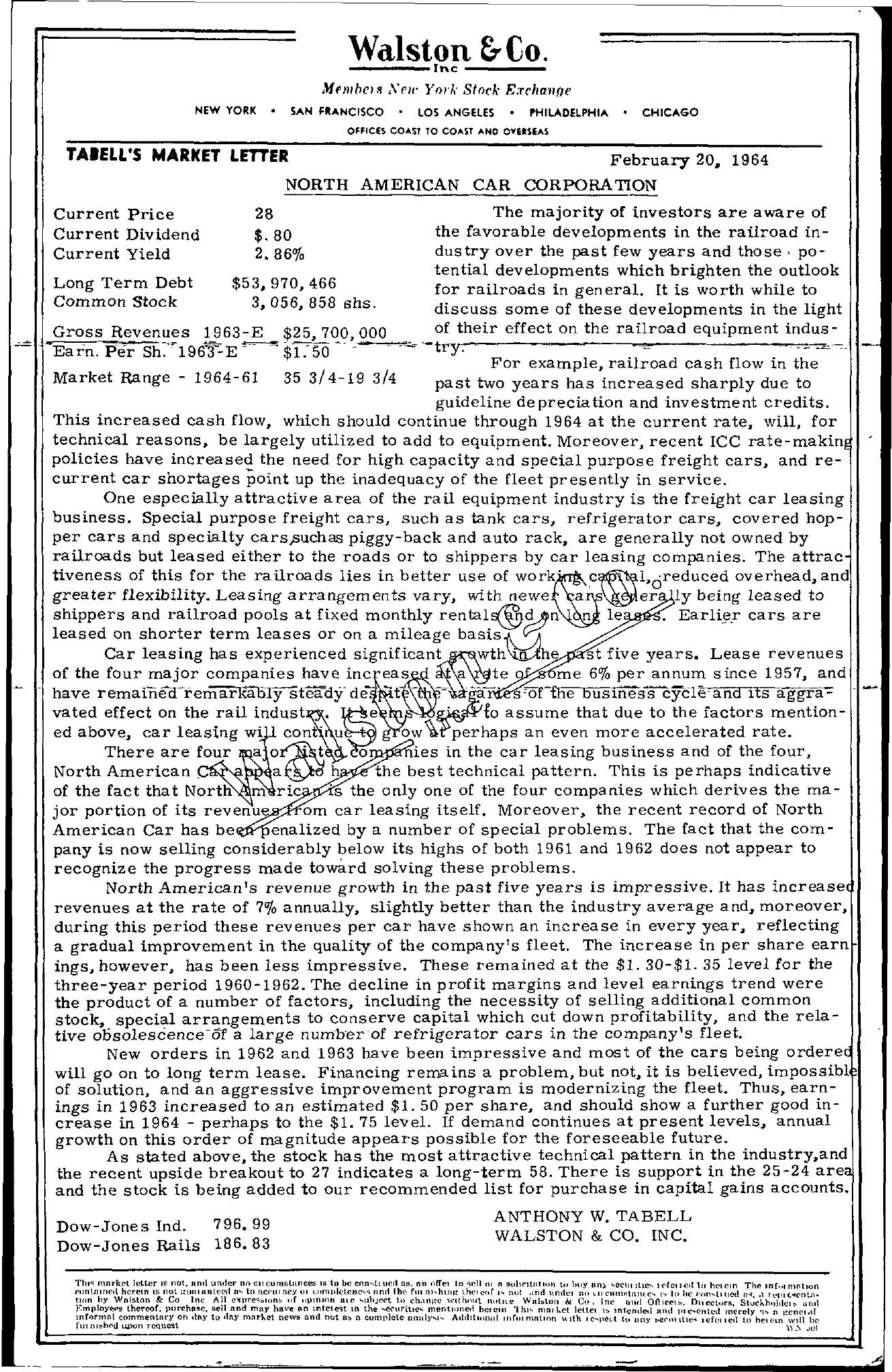Tabell's Market Letter - February 20, 1964