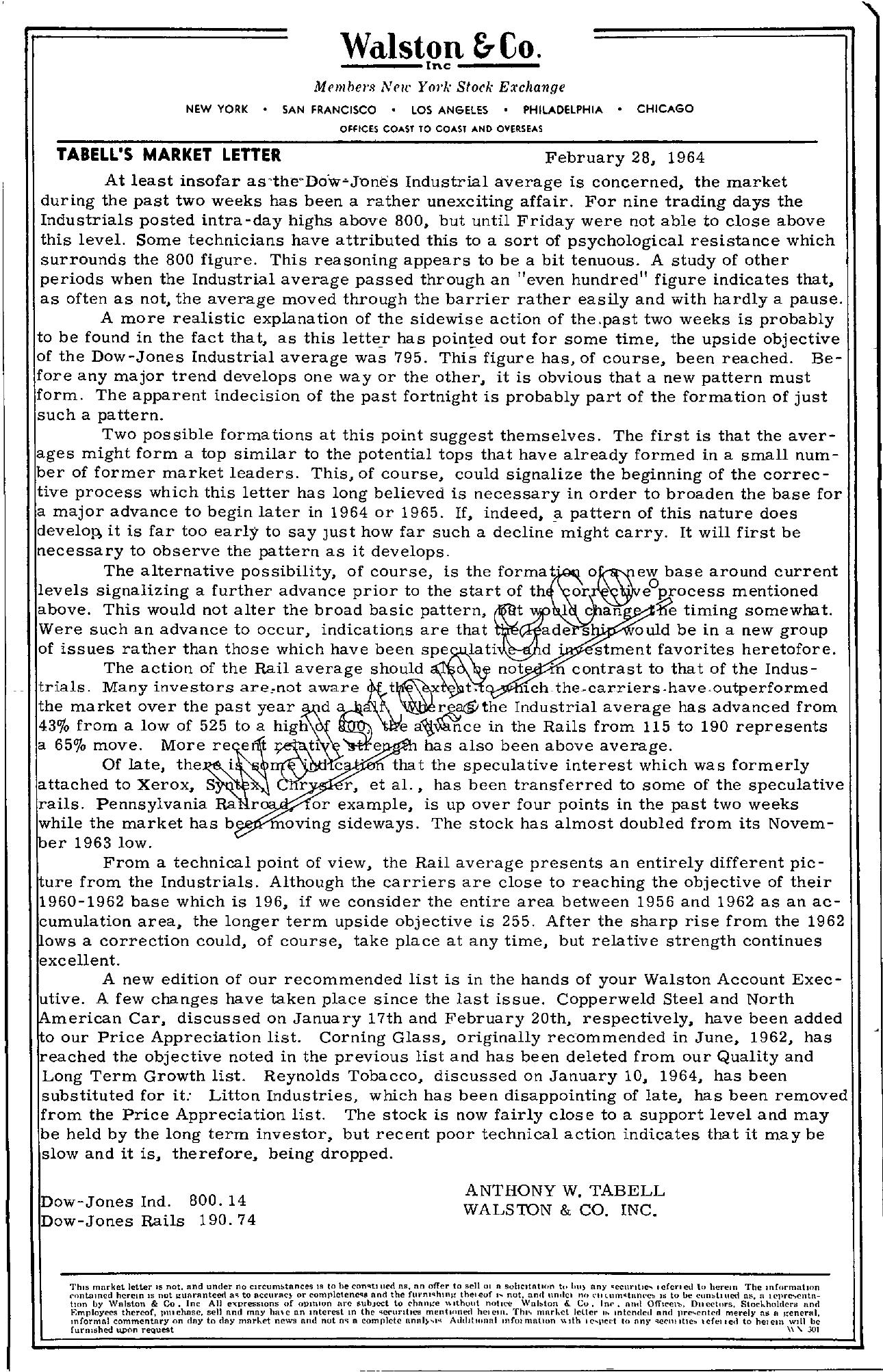 Tabell's Market Letter - February 28, 1964
