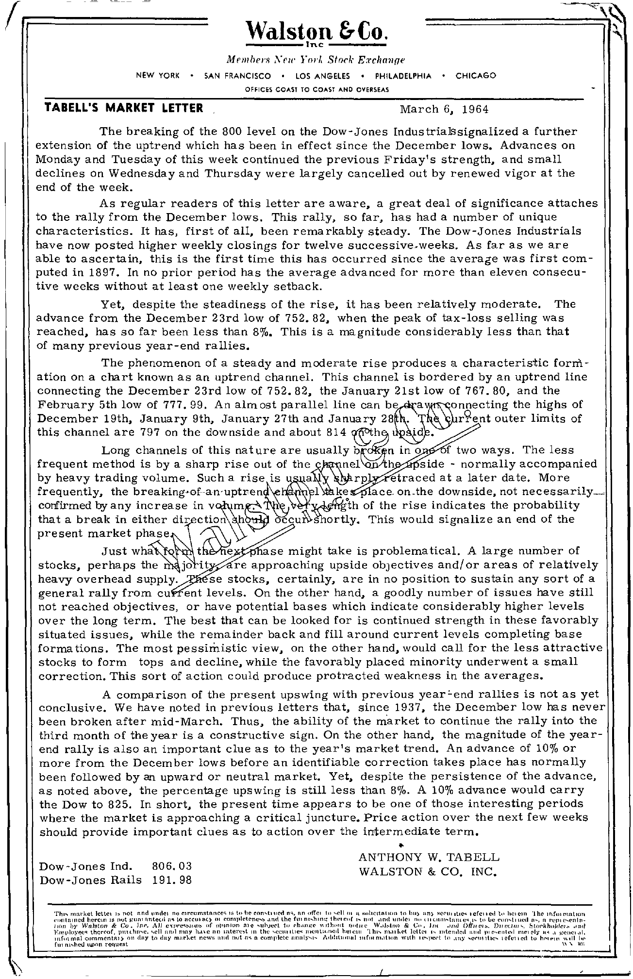Tabell's Market Letter - March 06, 1964