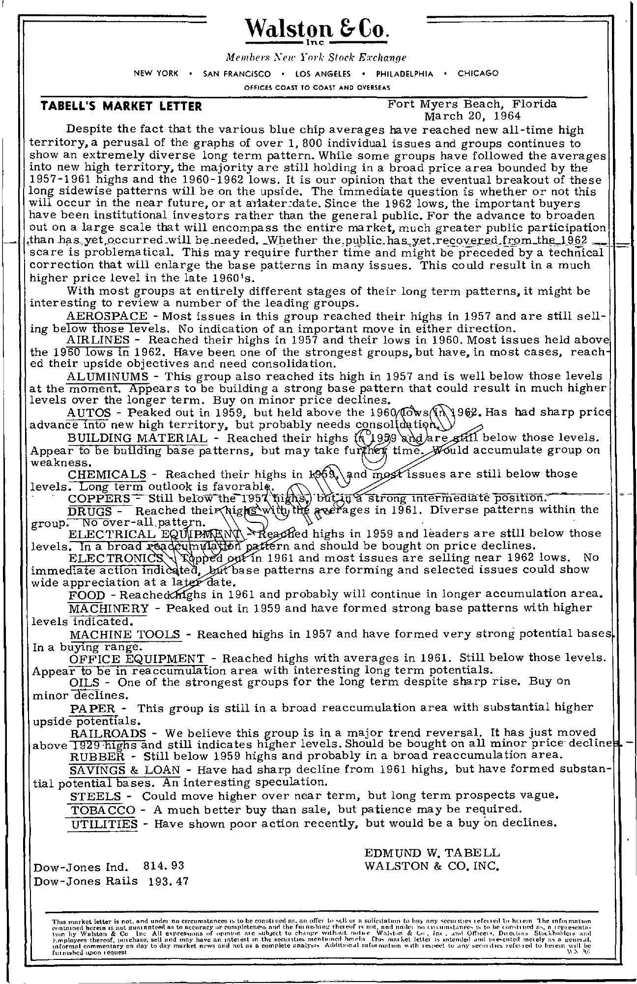 Tabell's Market Letter - March 20, 1964