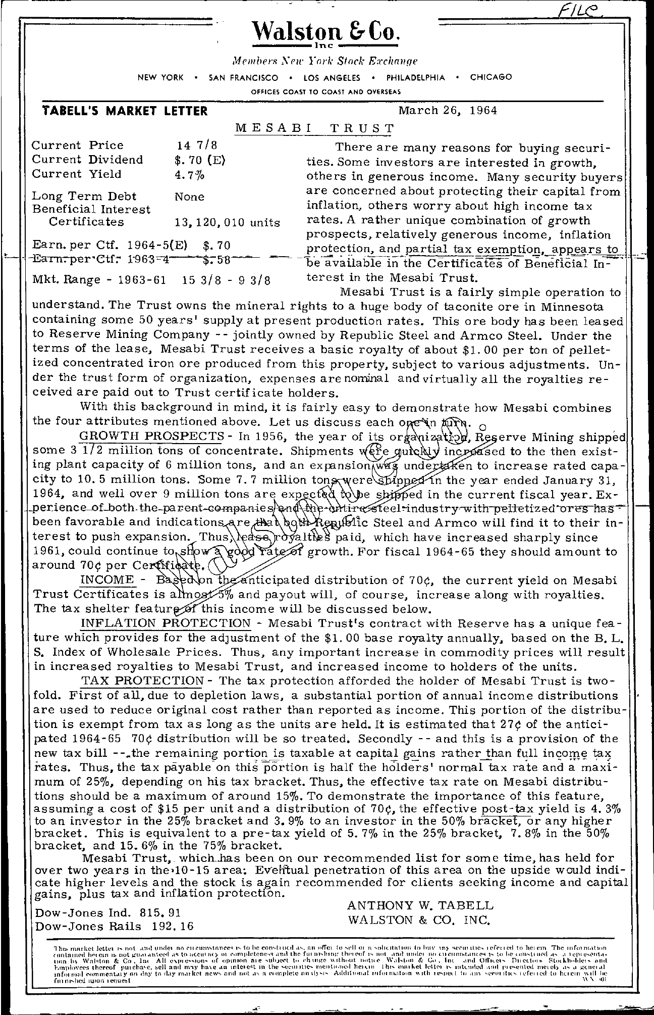 Tabell's Market Letter - March 26, 1964
