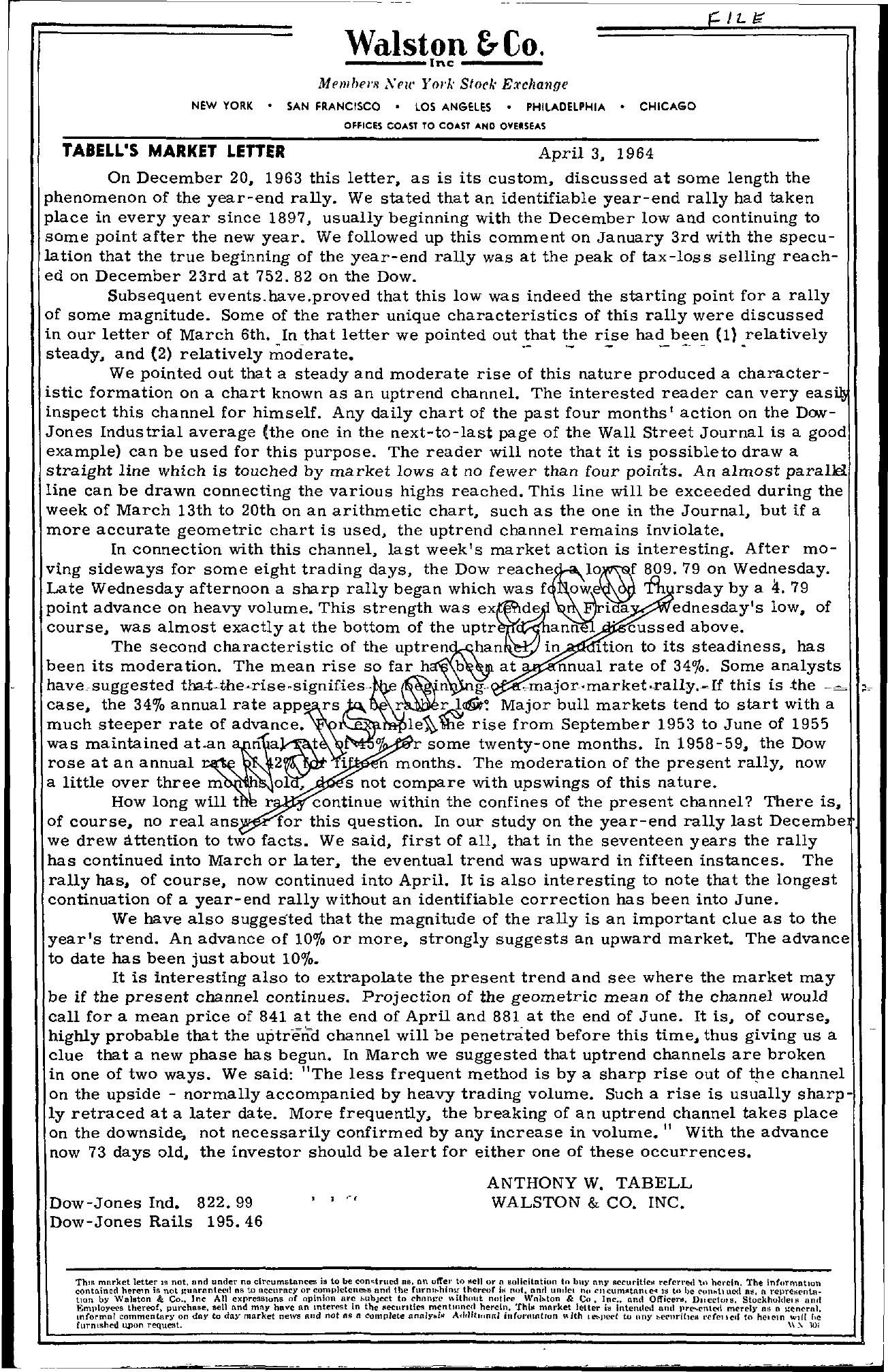 Tabell's Market Letter - April 03, 1964