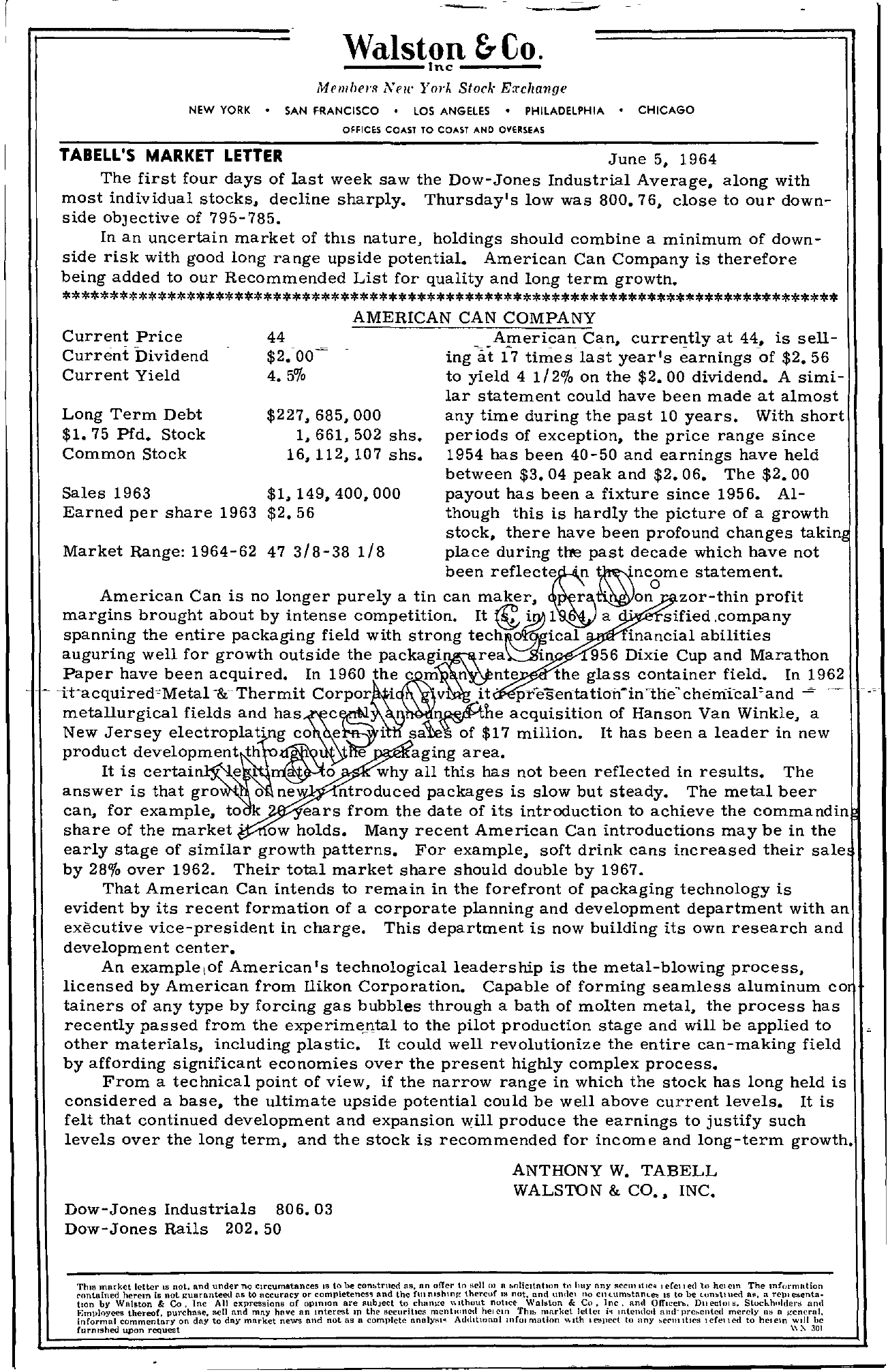 Tabell's Market Letter - June 05, 1964