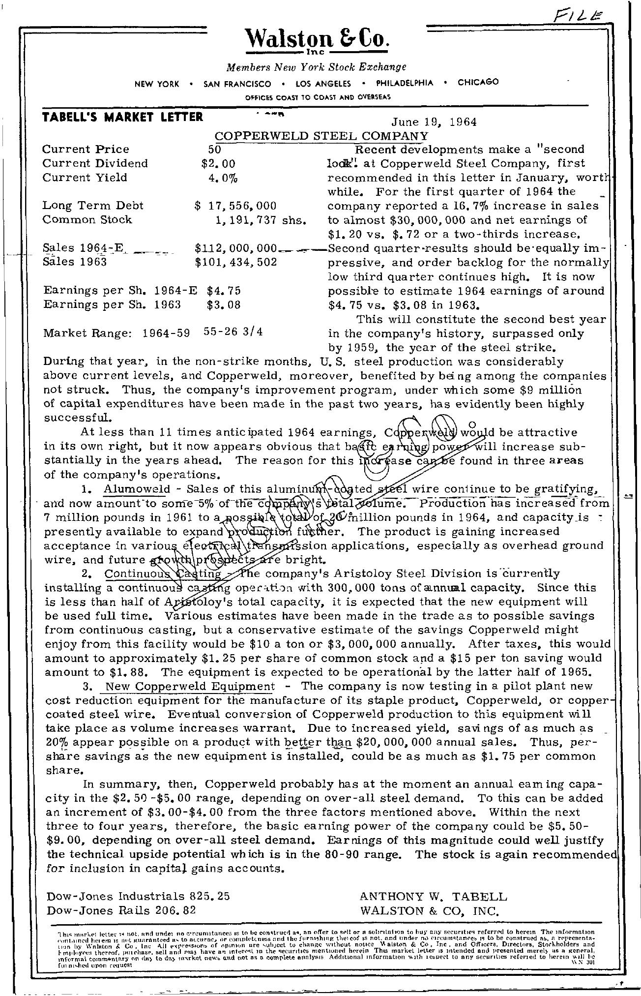 Tabell's Market Letter - June 19, 1964