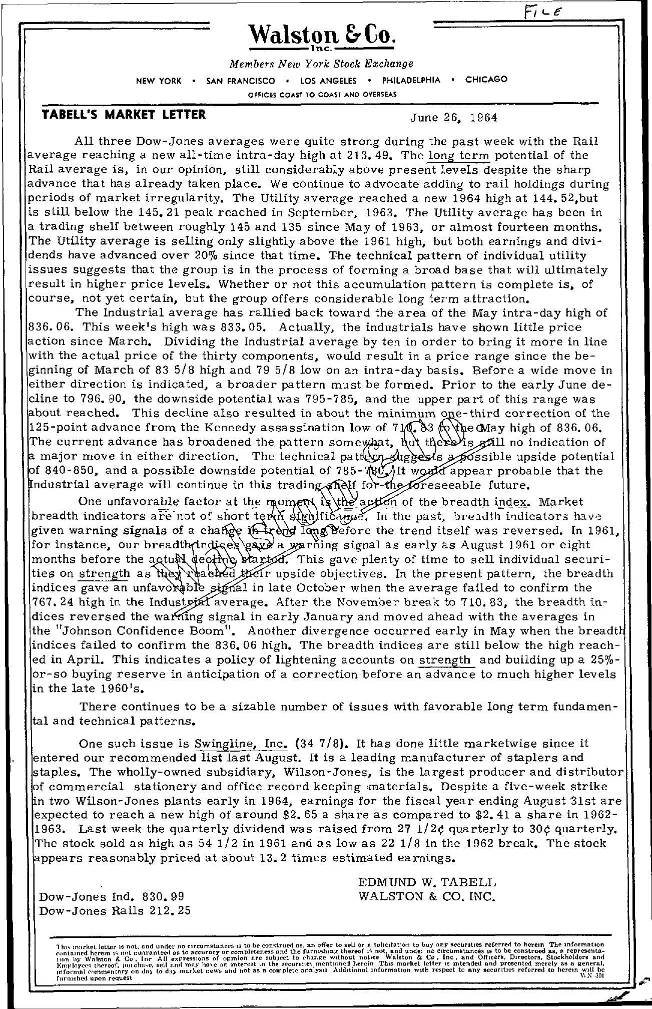 Tabell's Market Letter - June 26, 1964