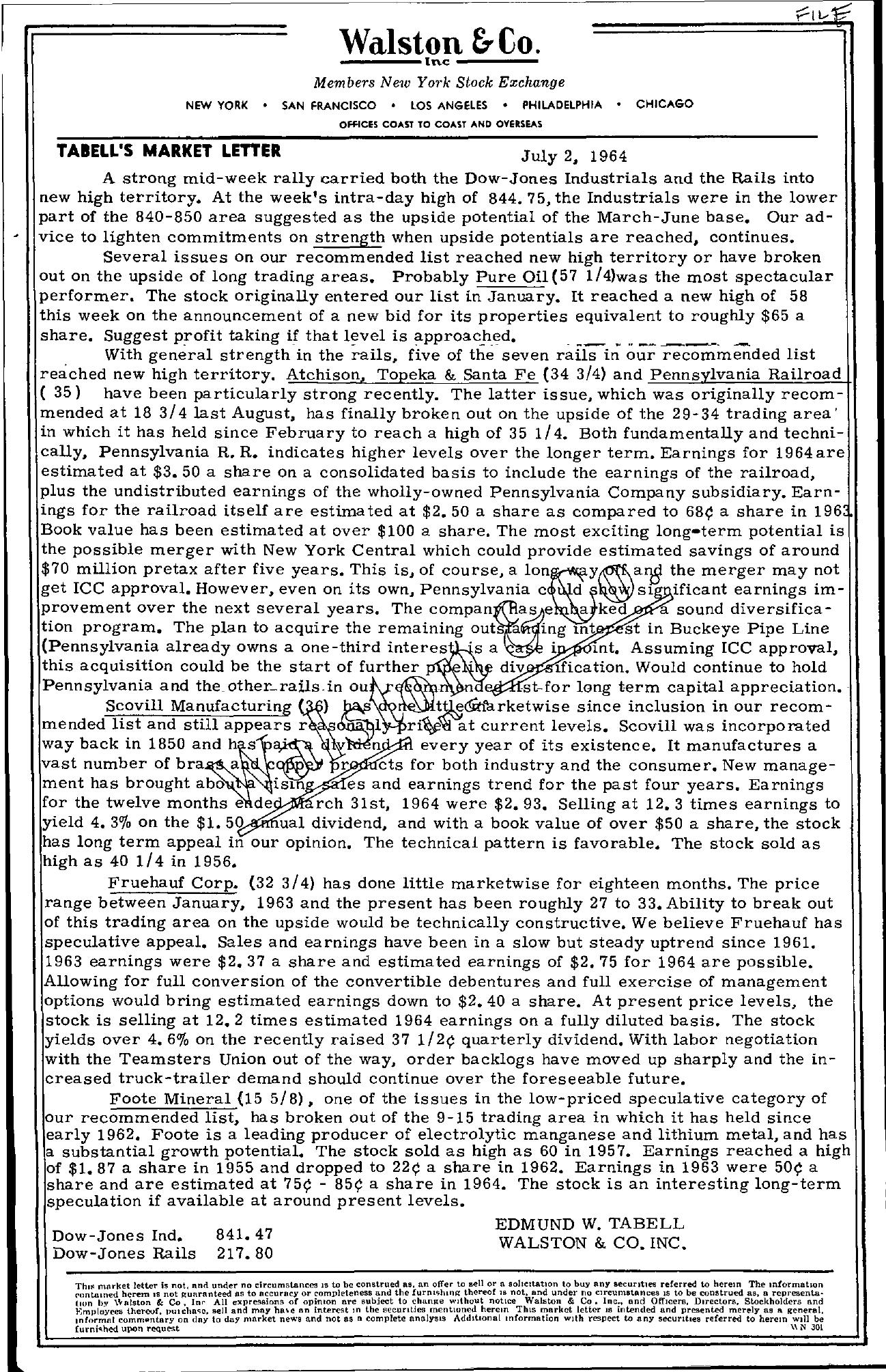 Tabell's Market Letter - July 02, 1964