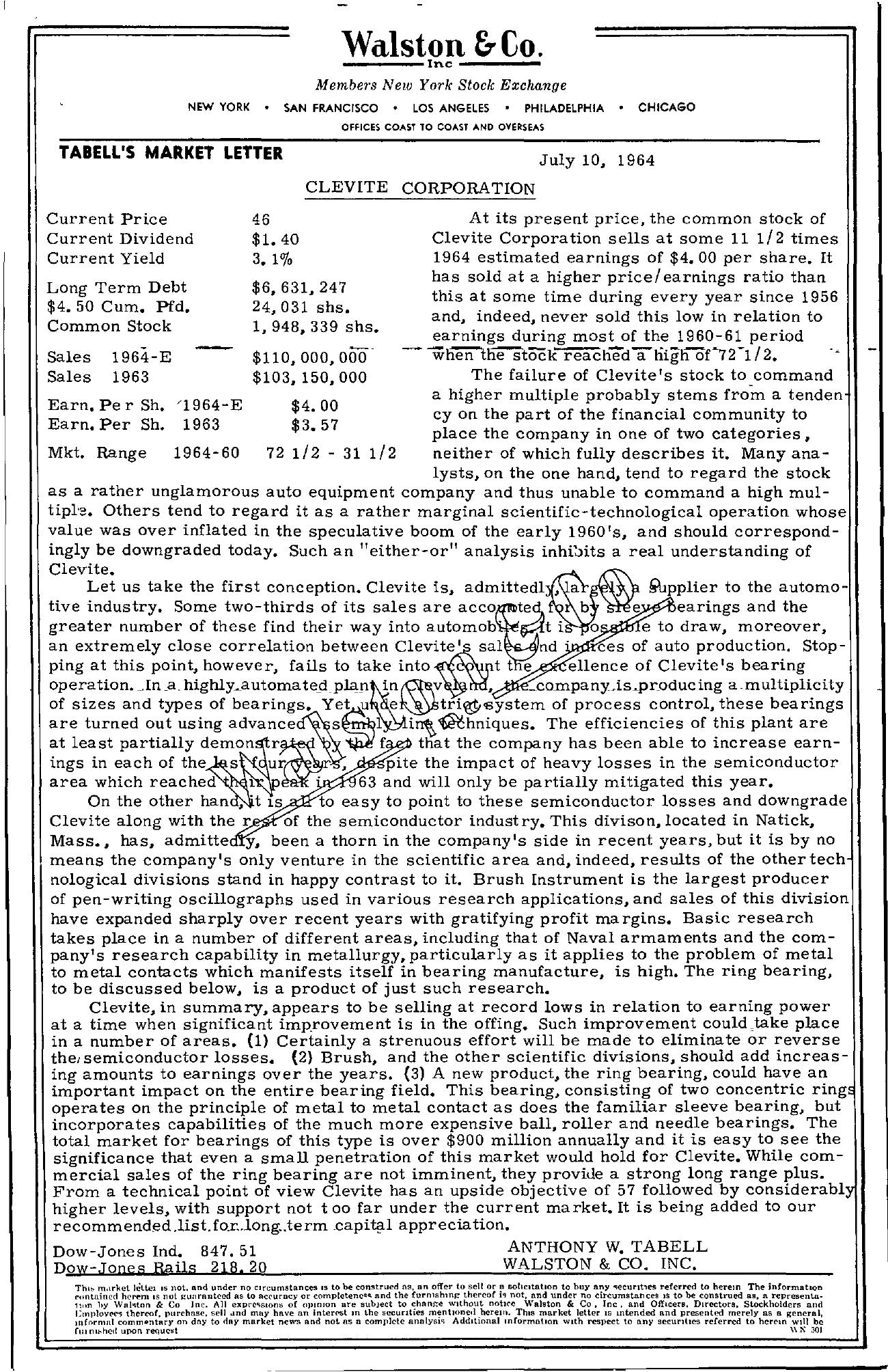 Tabell's Market Letter - July 10, 1964