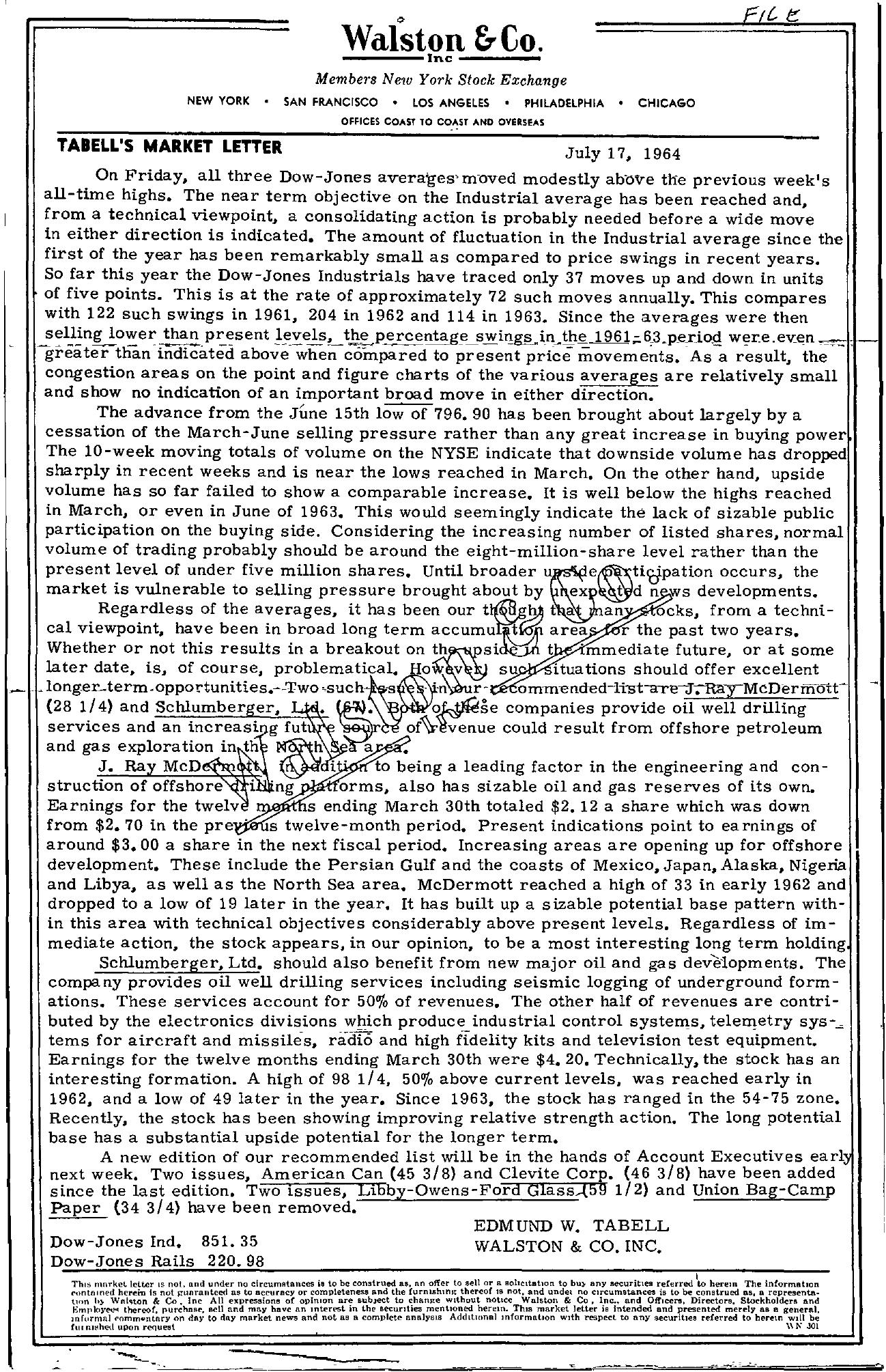 Tabell's Market Letter - July 17, 1964