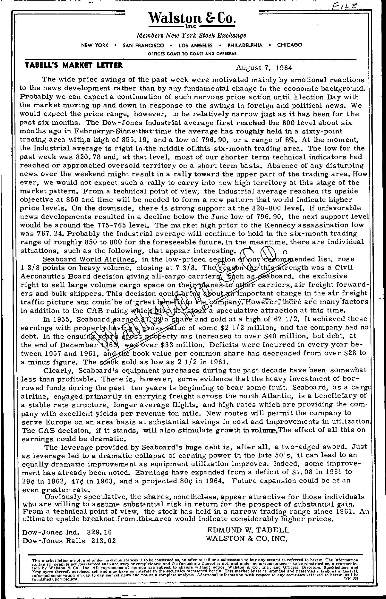 Tabell's Market Letter - August 07, 1964