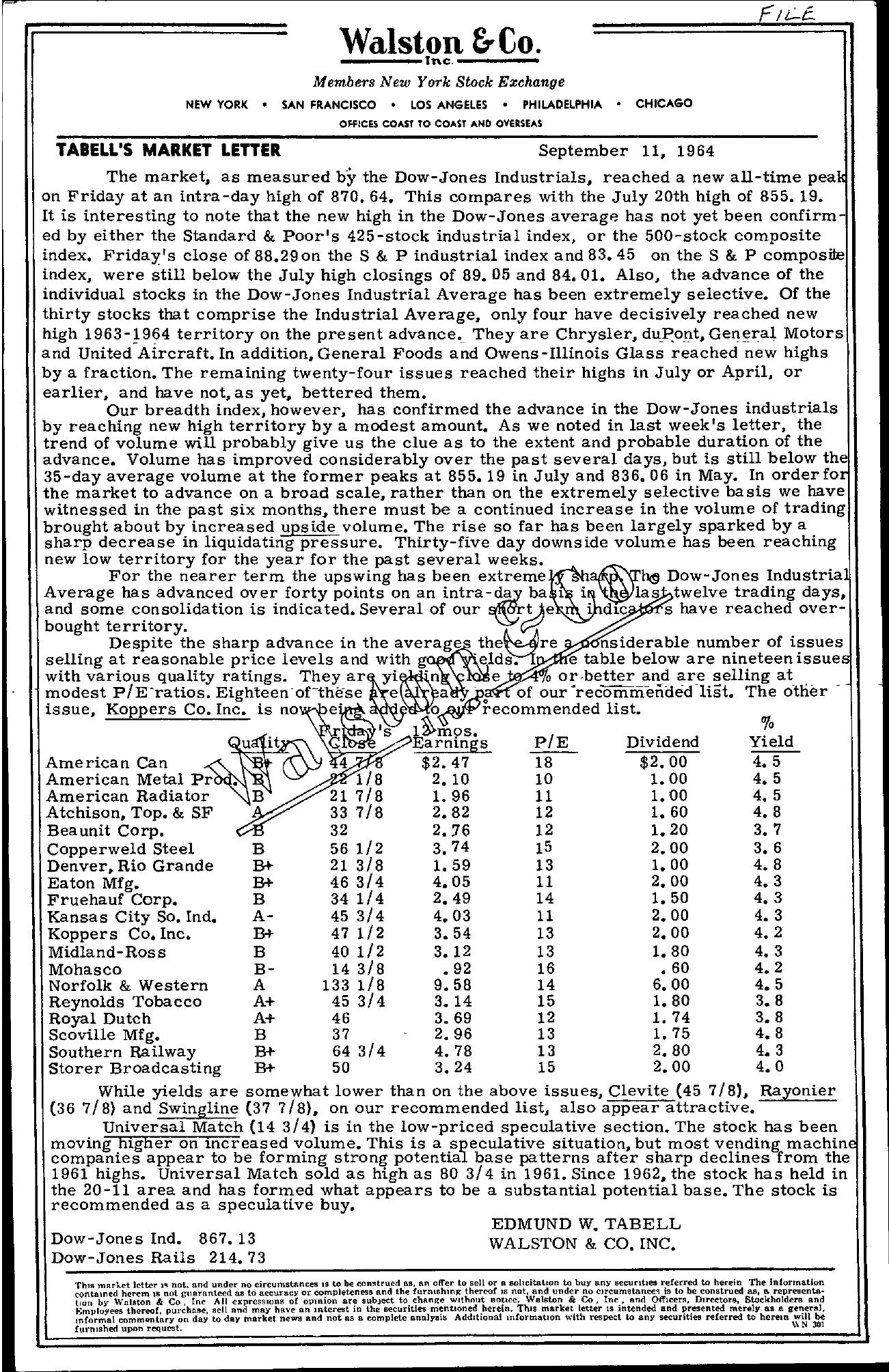 Tabell's Market Letter - September 11, 1964
