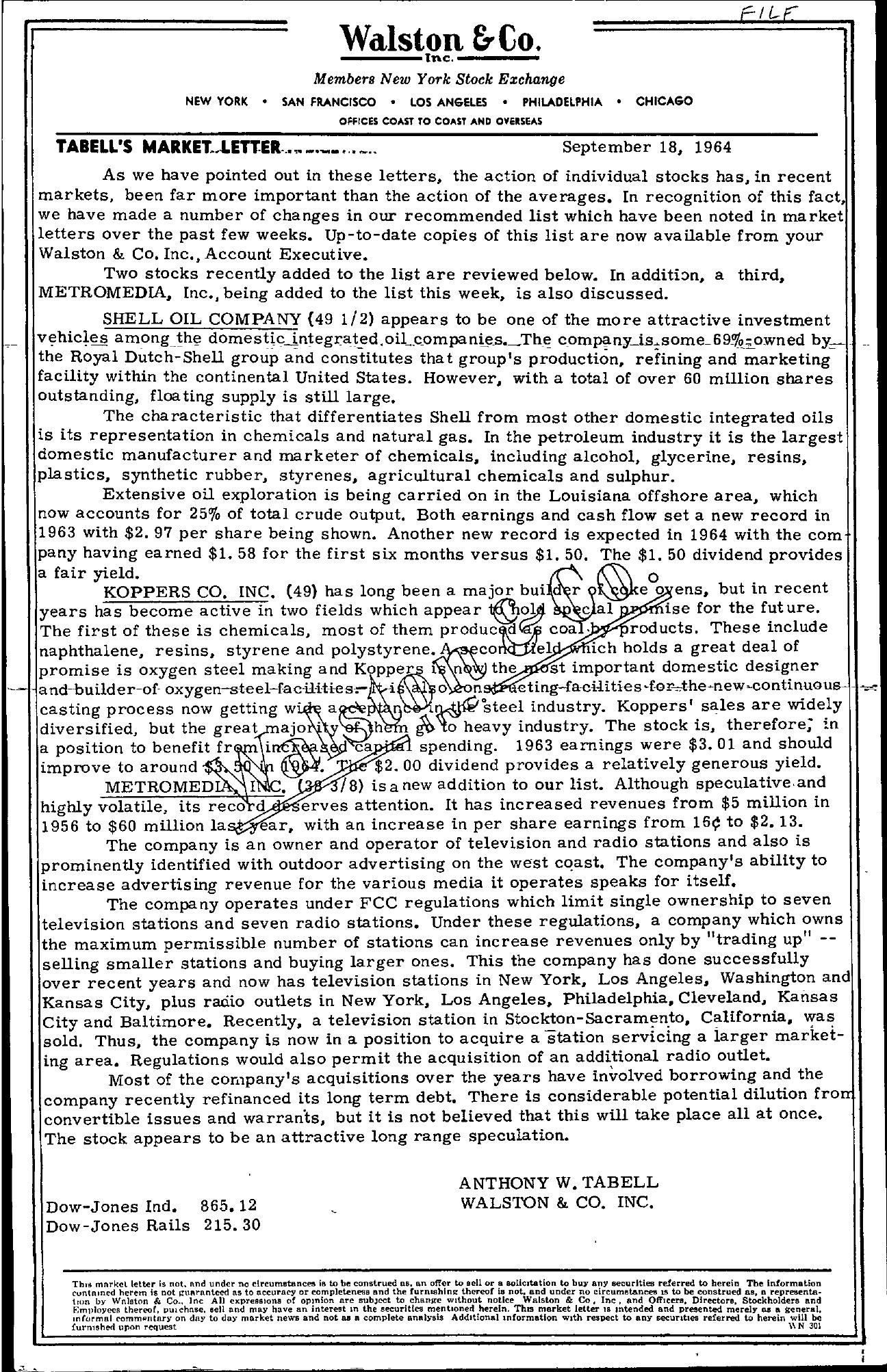 Tabell's Market Letter - September 18, 1964