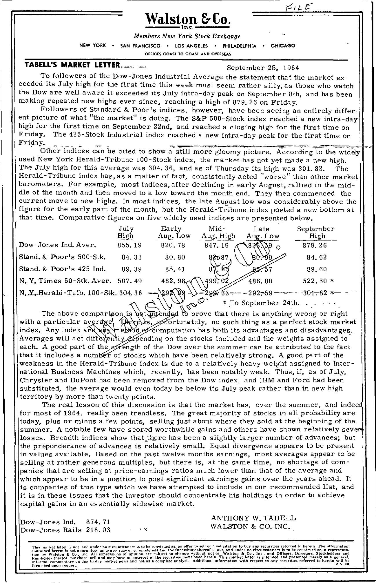 Tabell's Market Letter - September 25, 1964