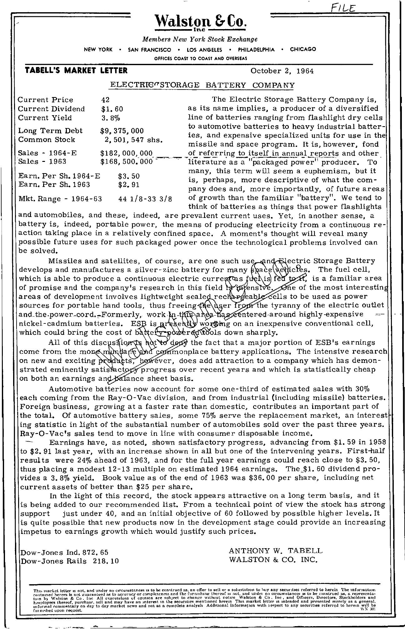 Tabell's Market Letter - October 02, 1964