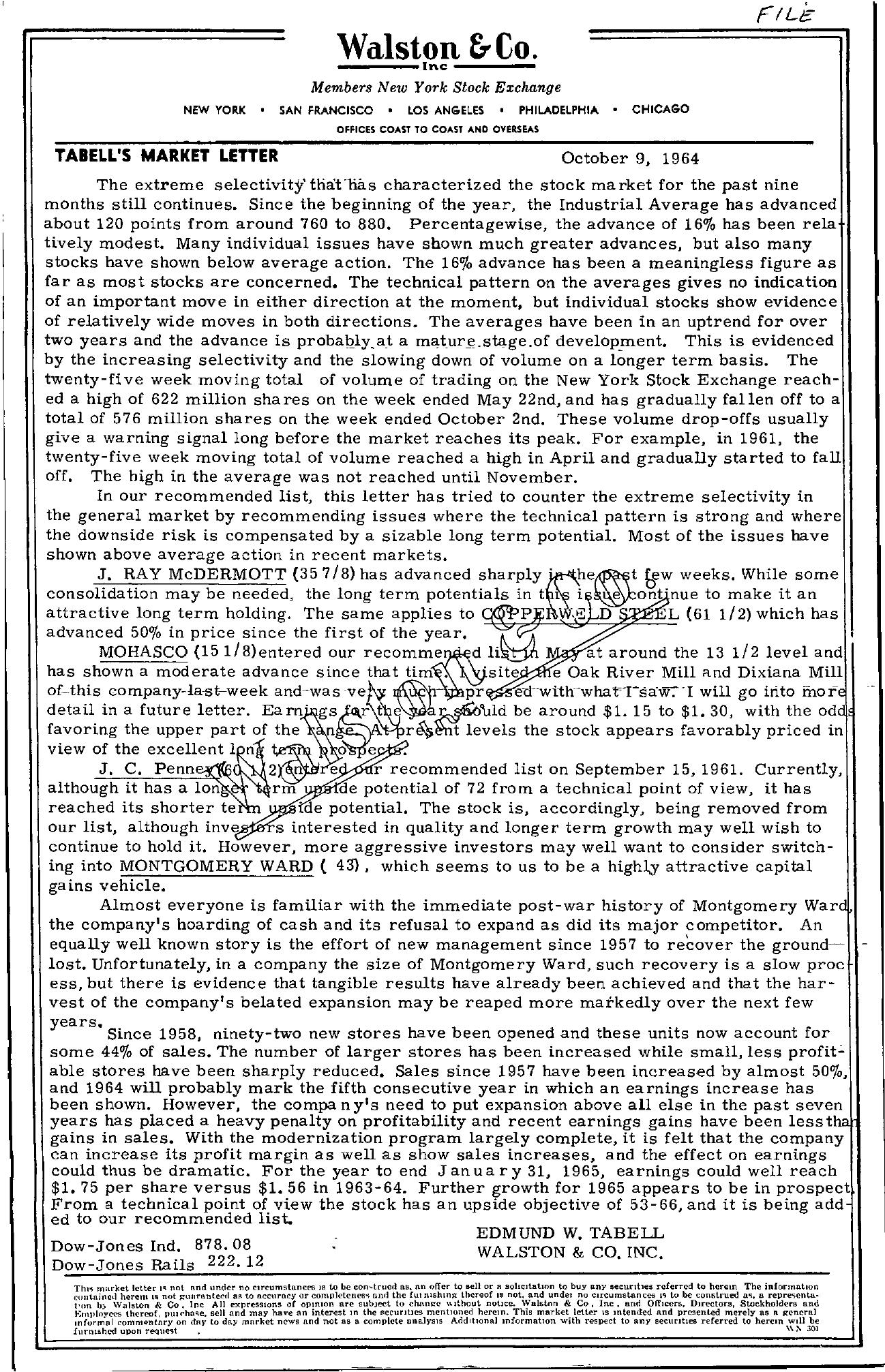 Tabell's Market Letter - October 09, 1964