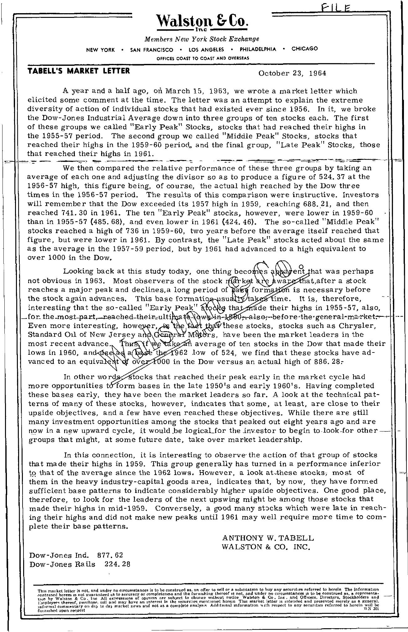 Tabell's Market Letter - October 23, 1964