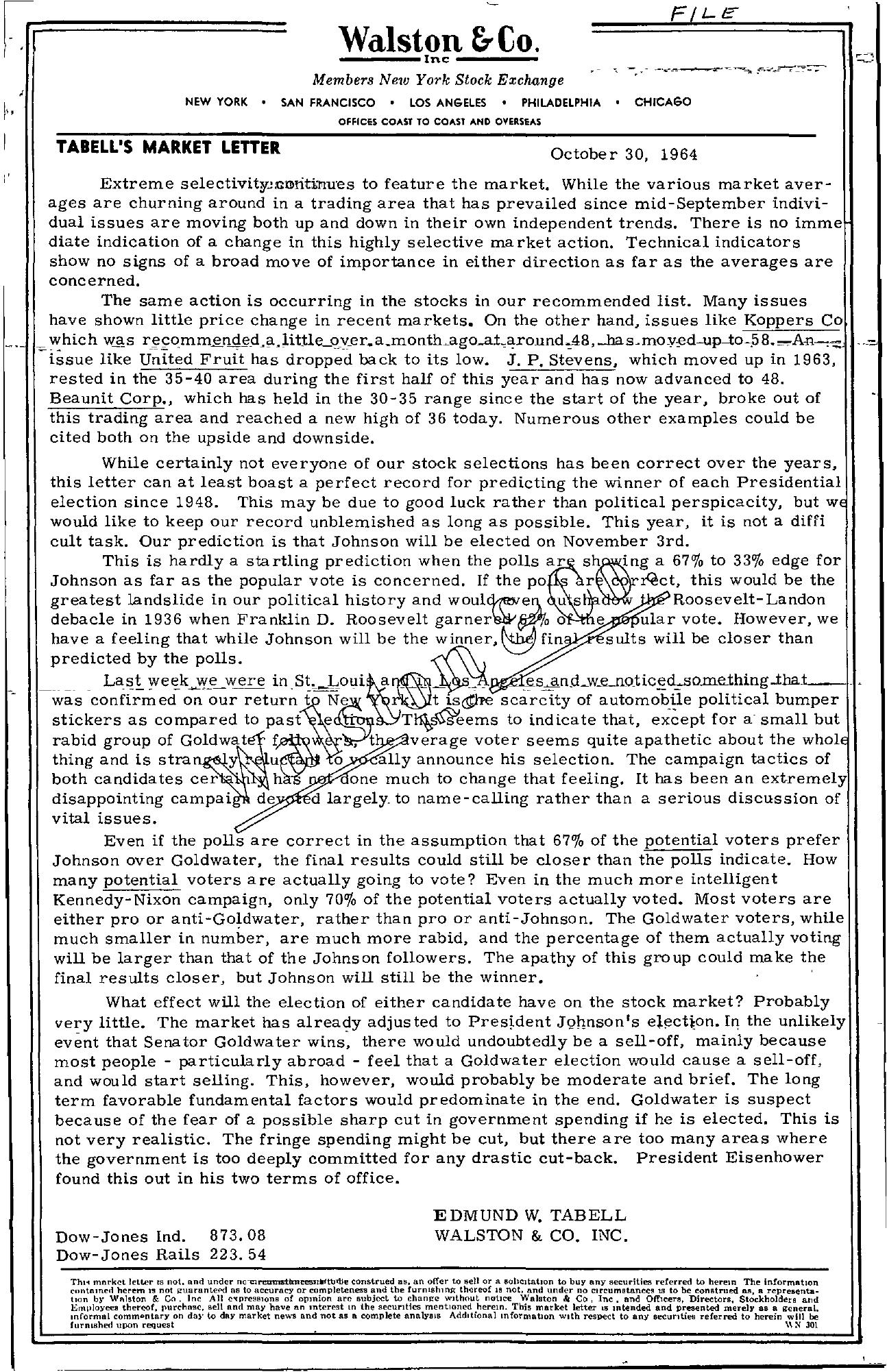 Tabell's Market Letter - October 30, 1964