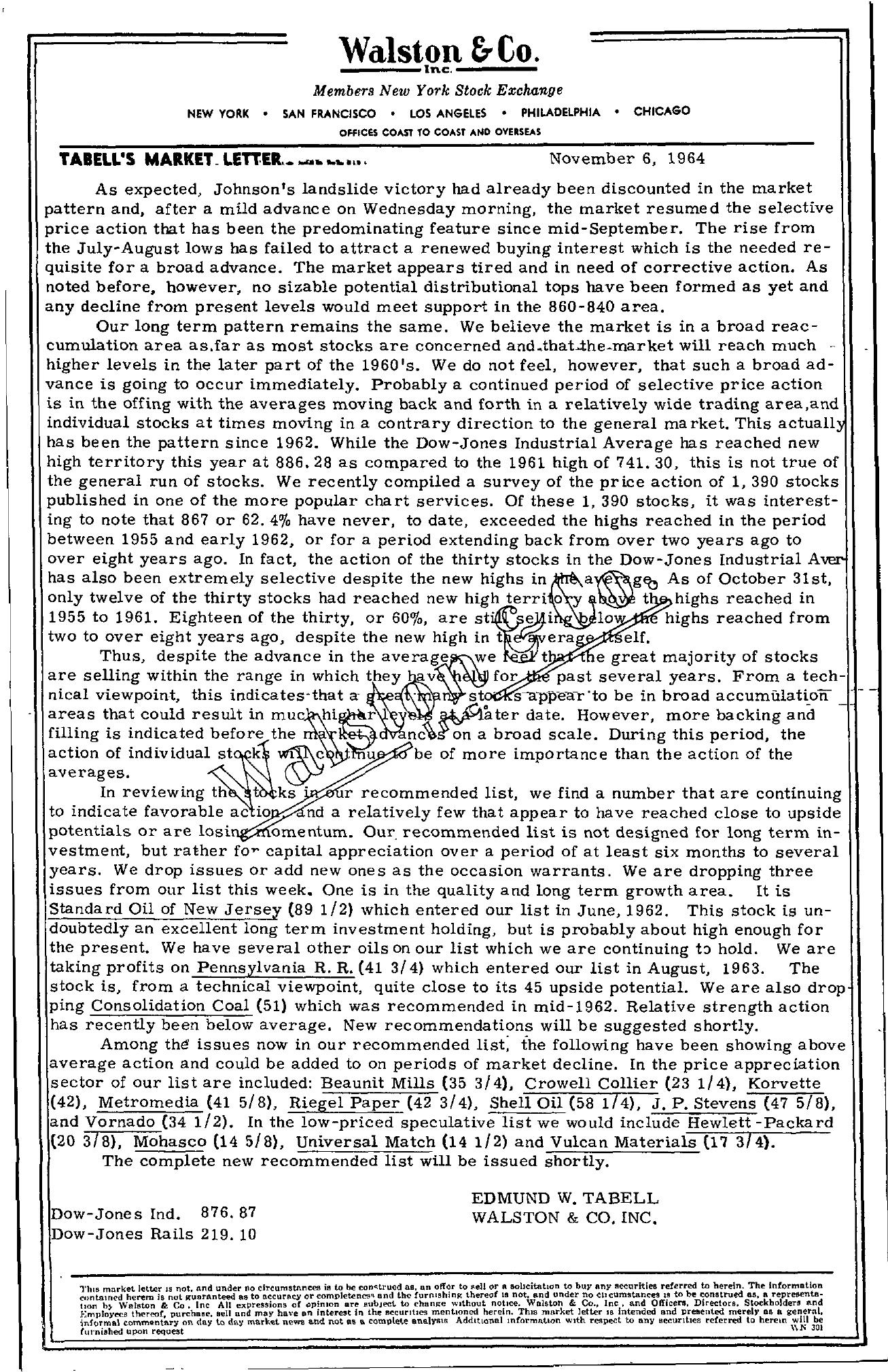 Tabell's Market Letter - November 06, 1964
