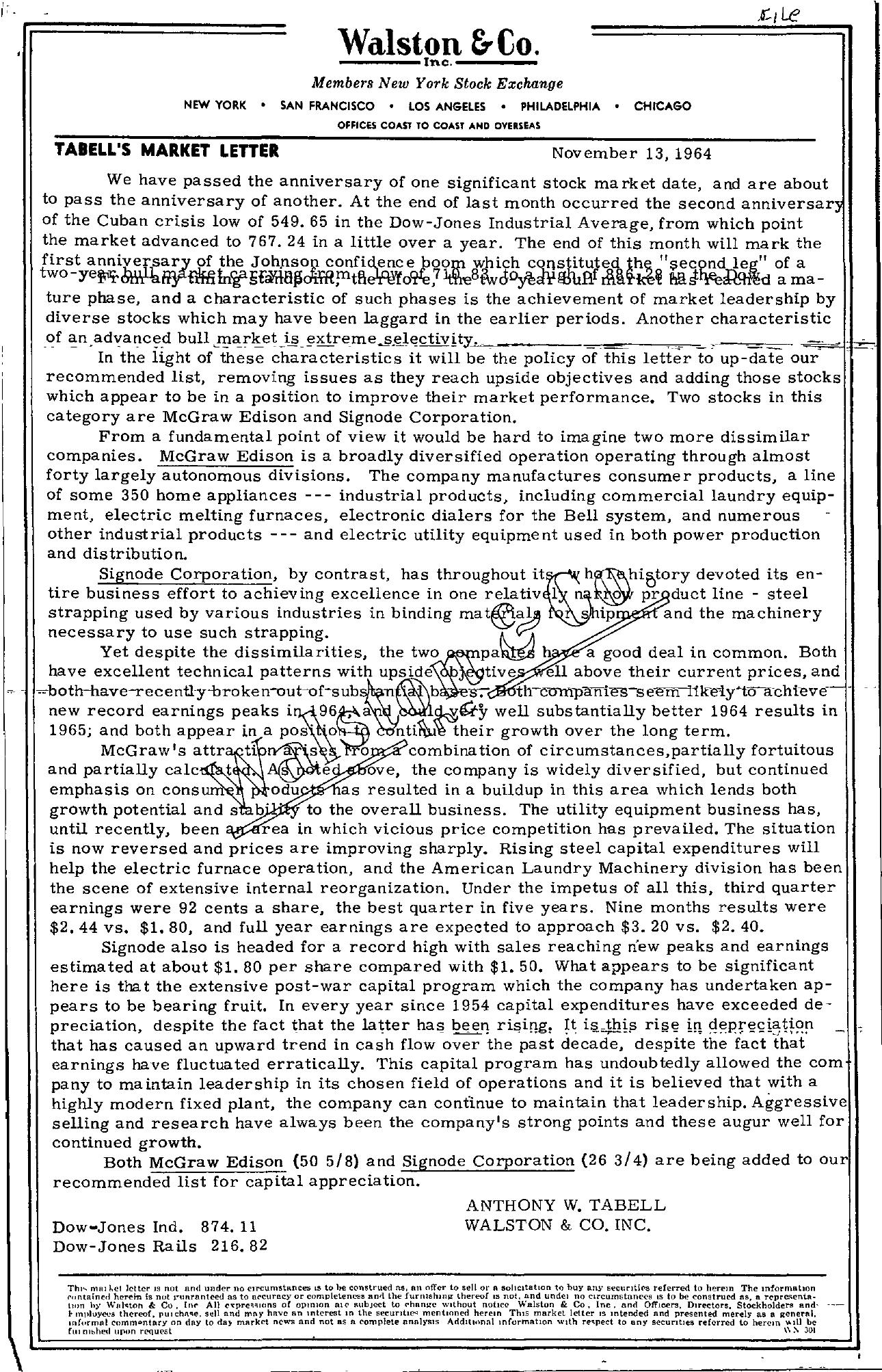 Tabell's Market Letter - November 13, 1964