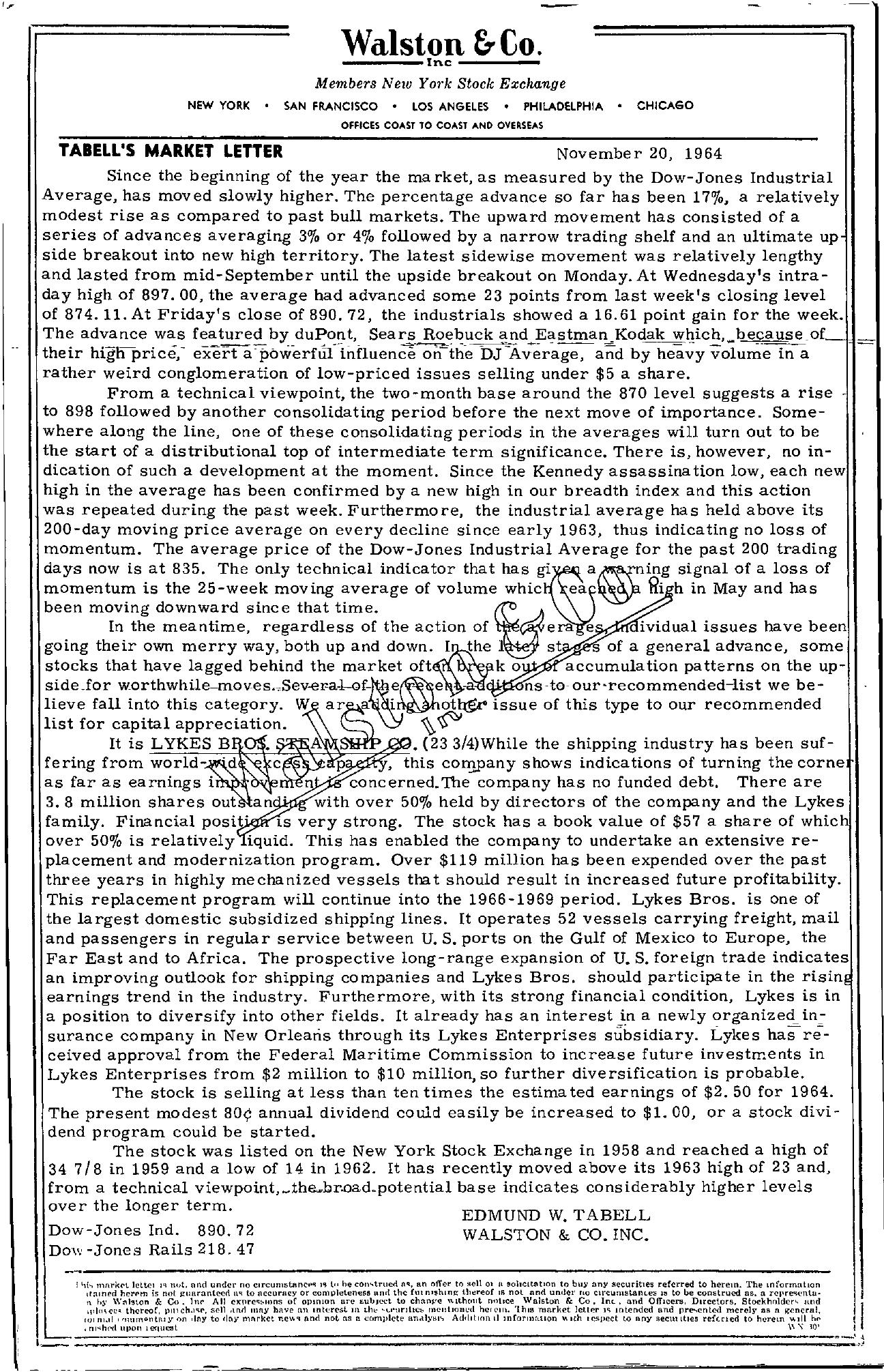 Tabell's Market Letter - November 20, 1964