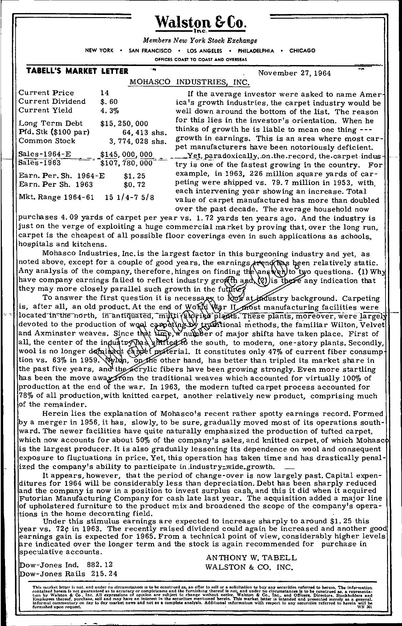 Tabell's Market Letter - November 27, 1964