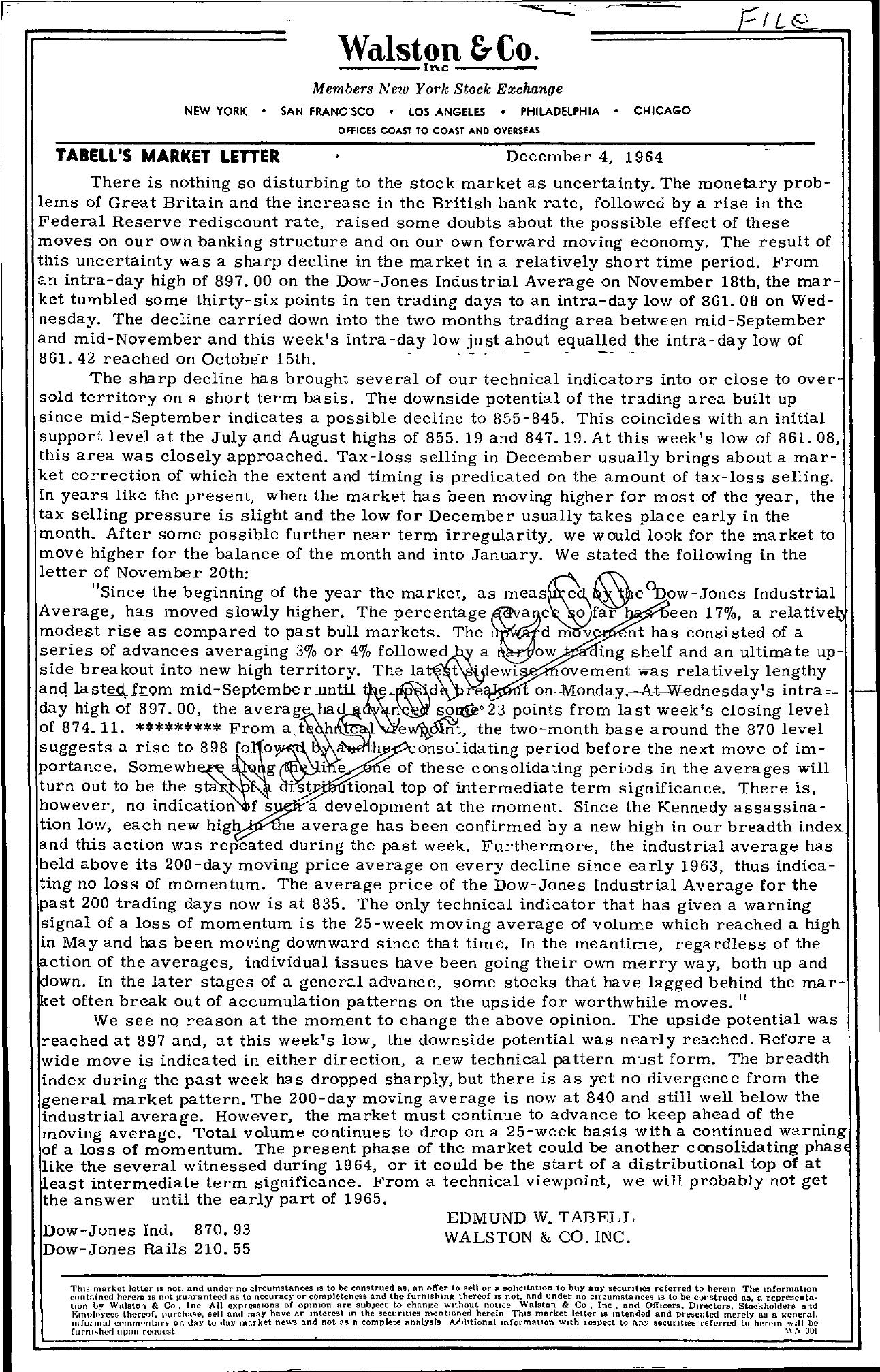 Tabell's Market Letter - December 04, 1964