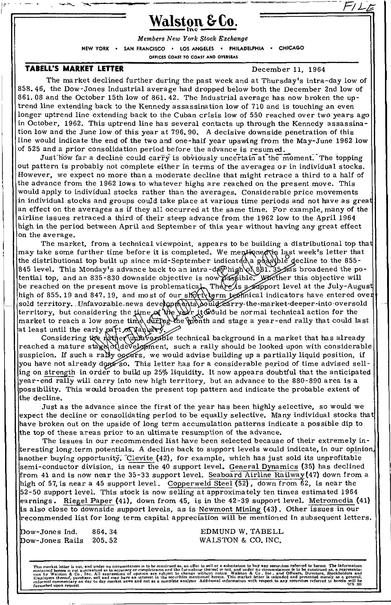 Tabell's Market Letter - December 11, 1964