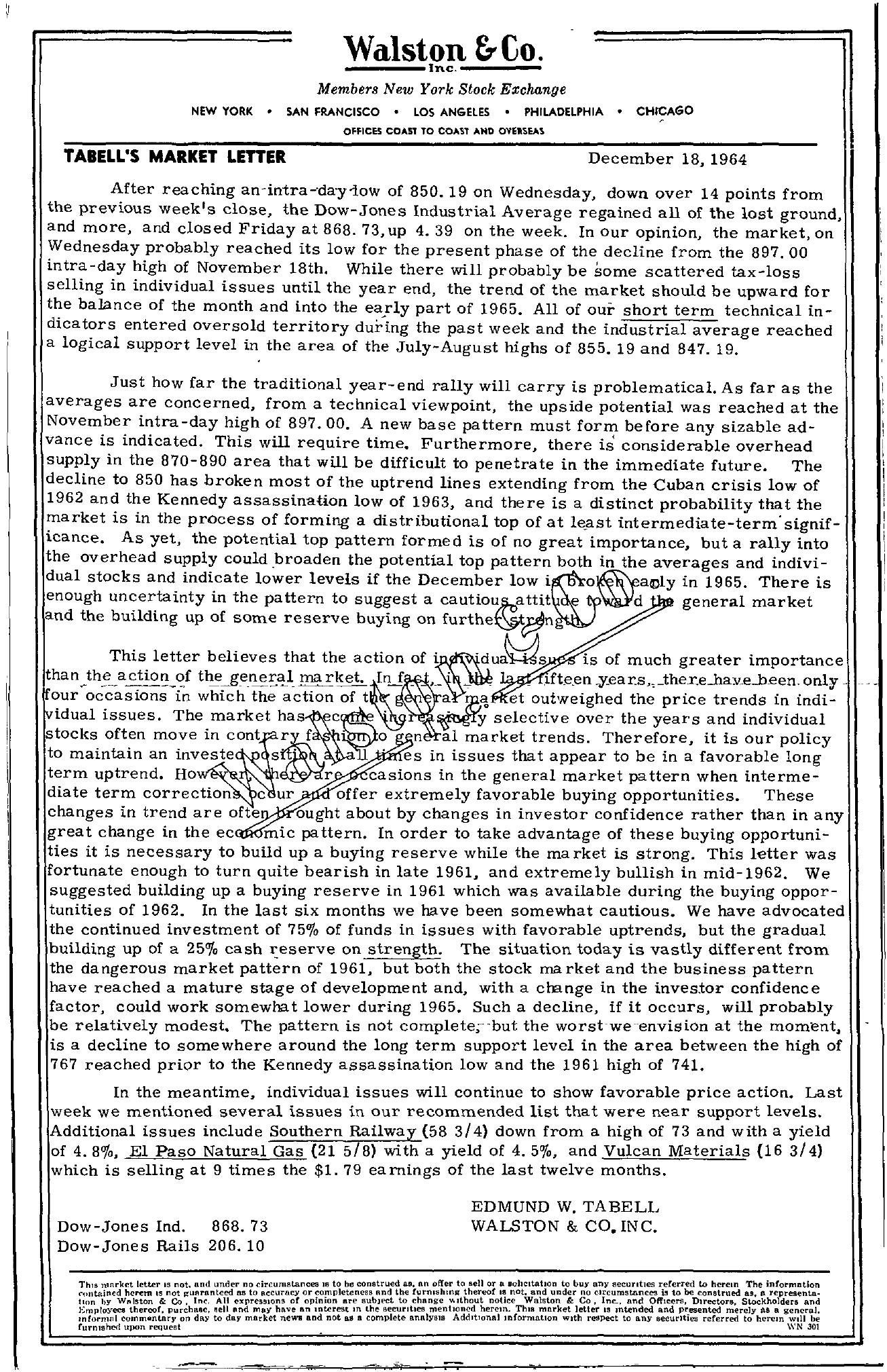 Tabell's Market Letter - December 18, 1964