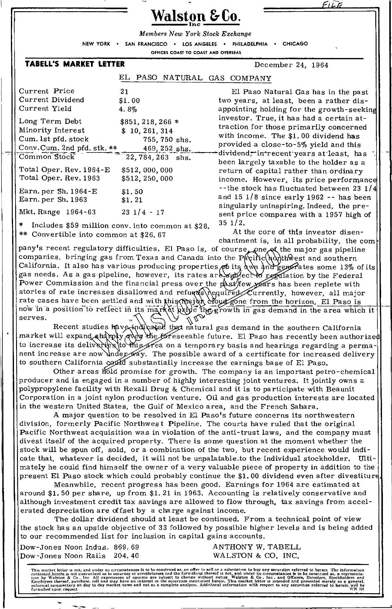 Tabell's Market Letter - December 24, 1964