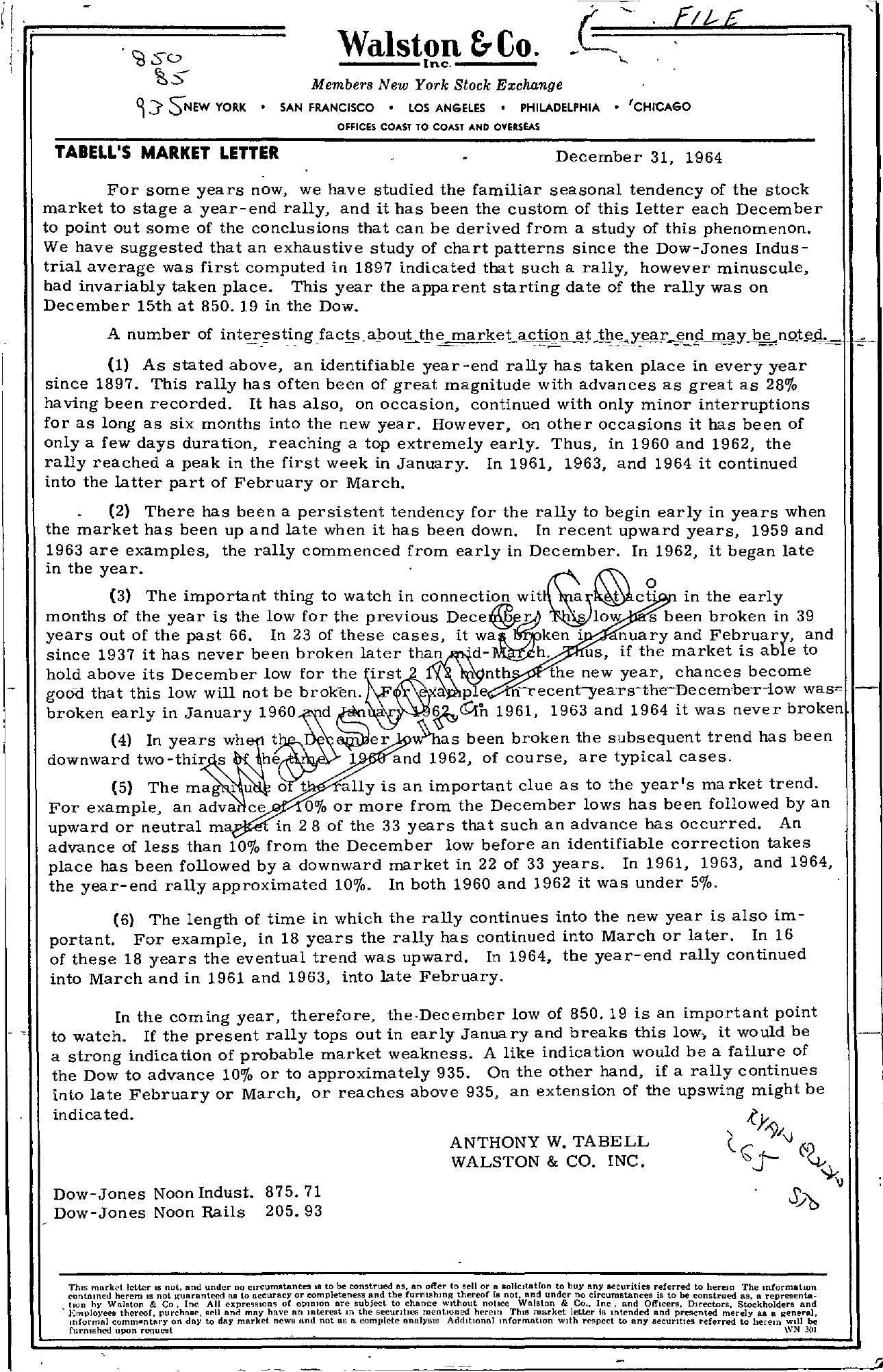 Tabell's Market Letter - December 31, 1964
