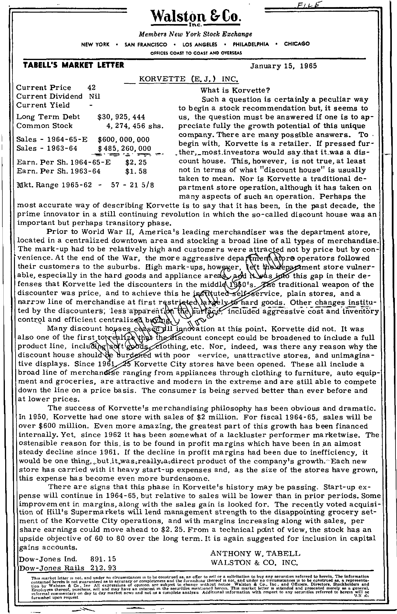 Tabell's Market Letter - January 15, 1965