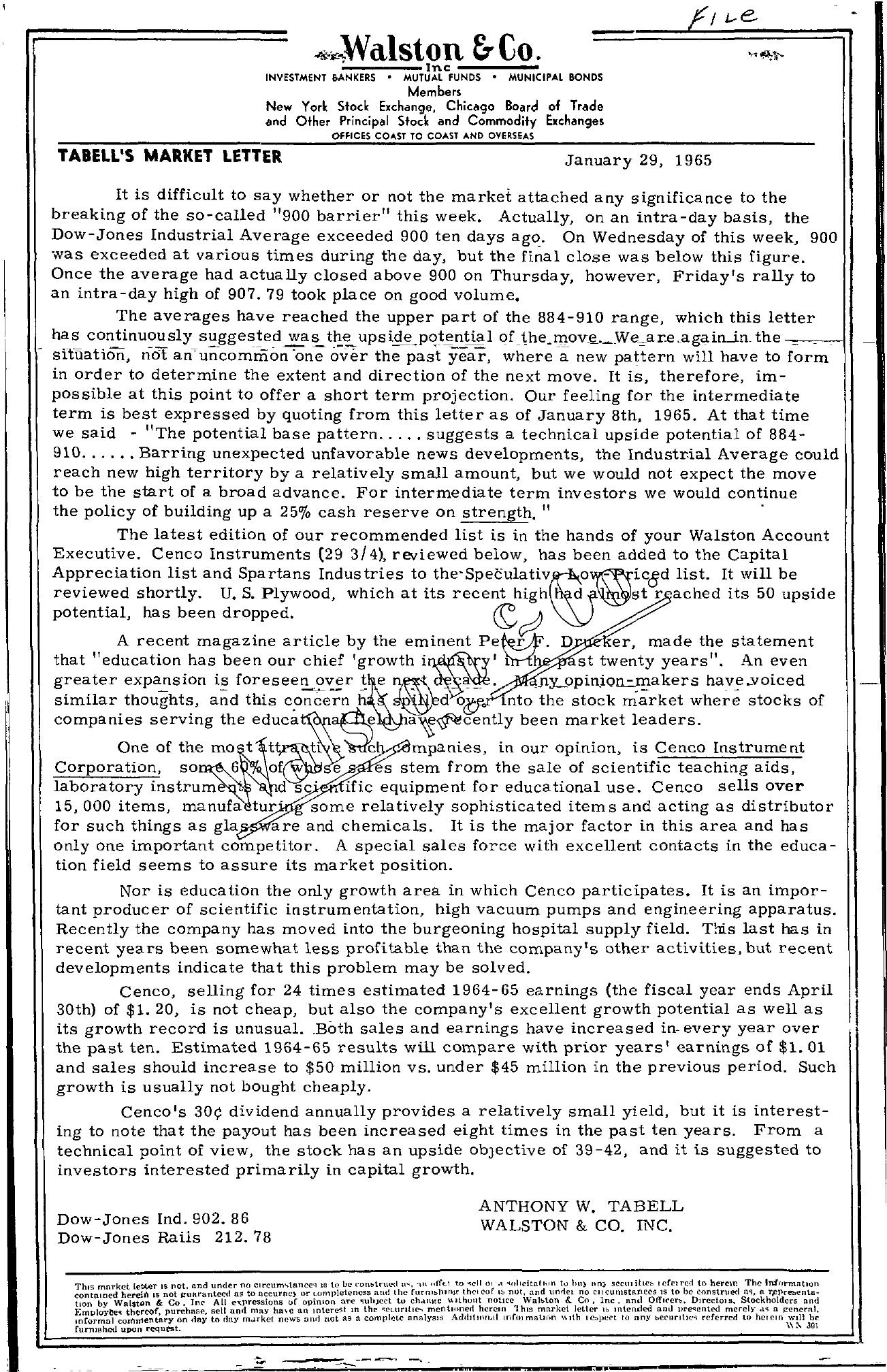 Tabell's Market Letter - January 29, 1965