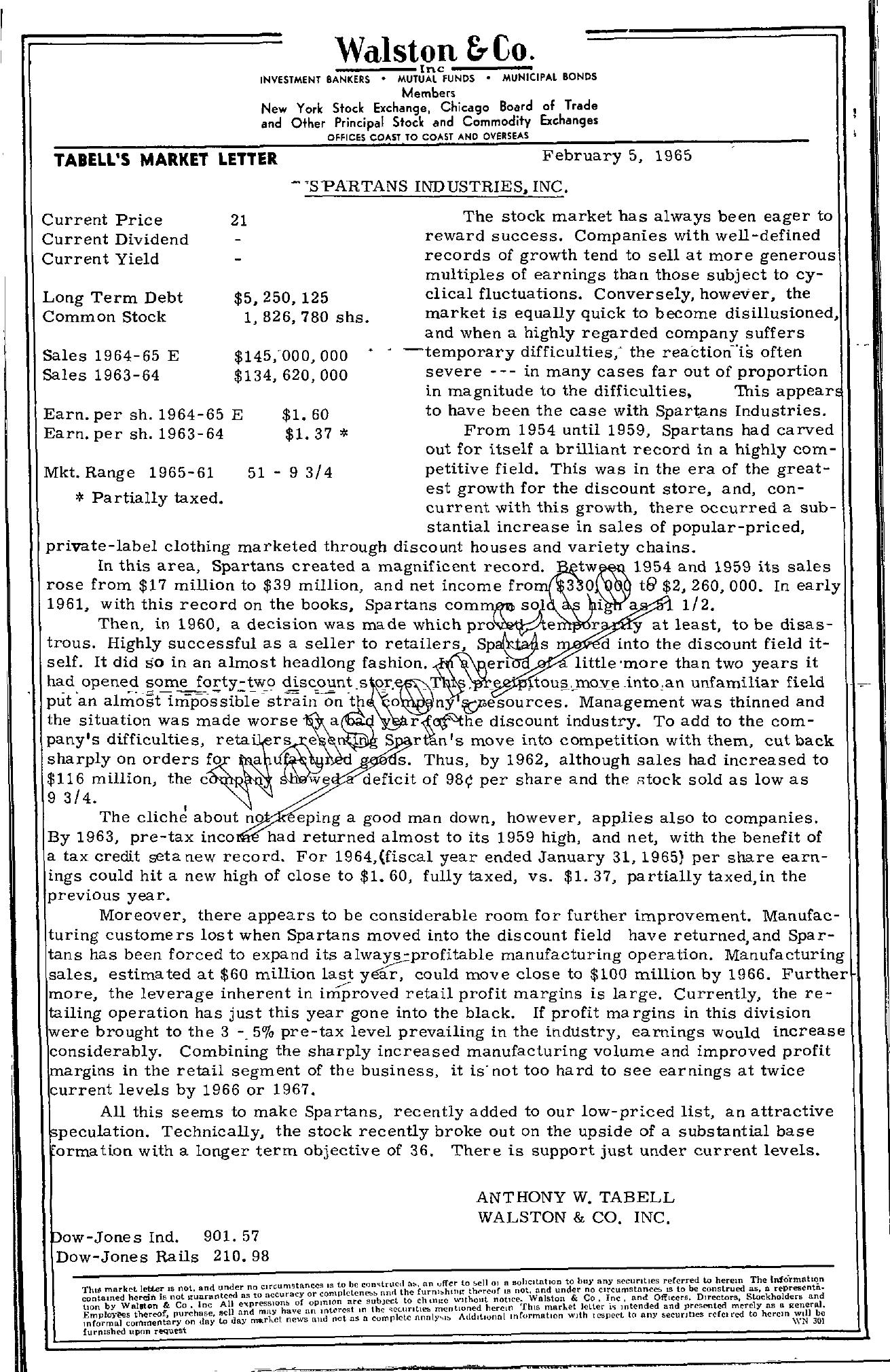 Tabell's Market Letter - February 05, 1965