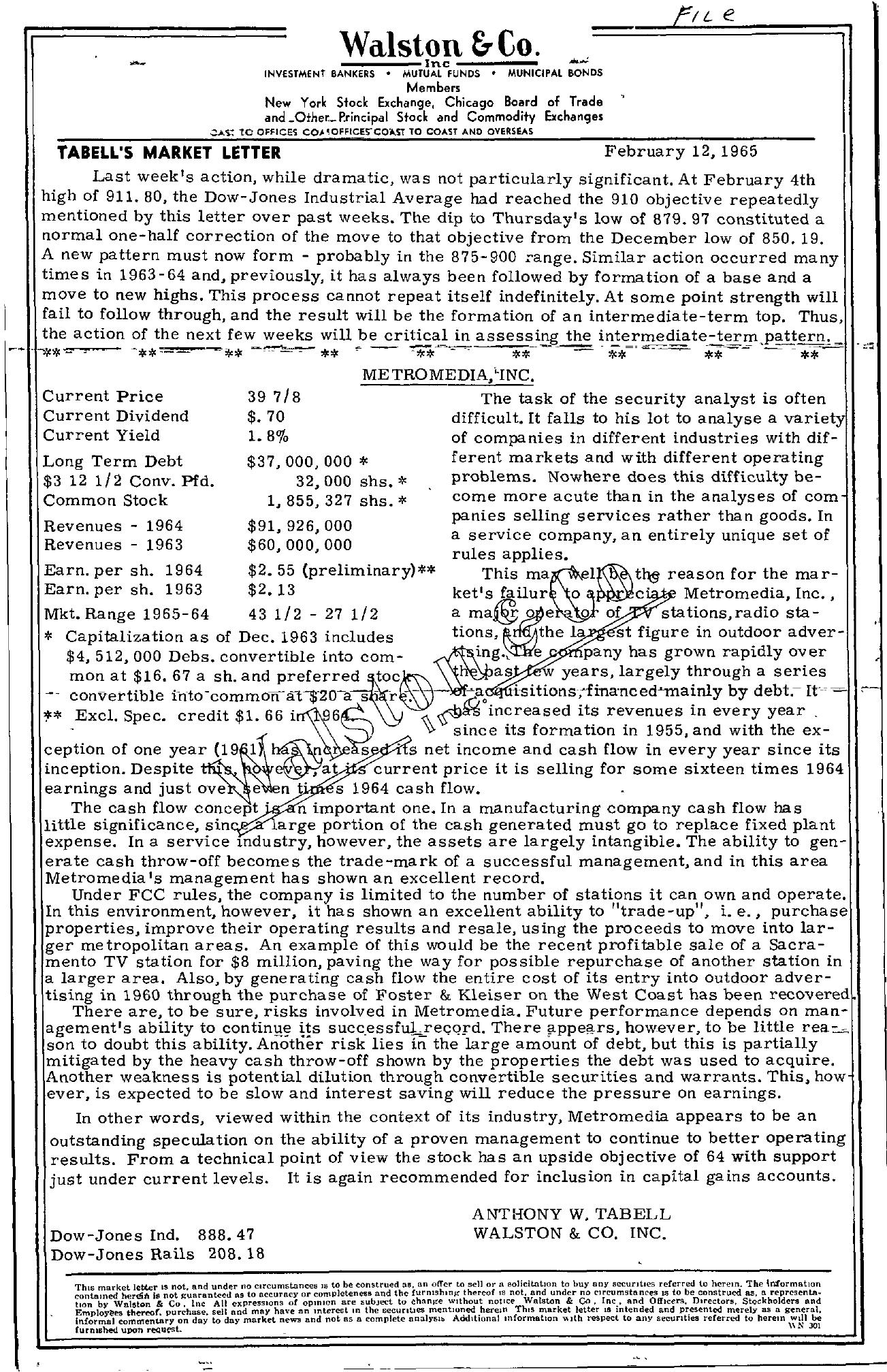 Tabell's Market Letter - February 12, 1965