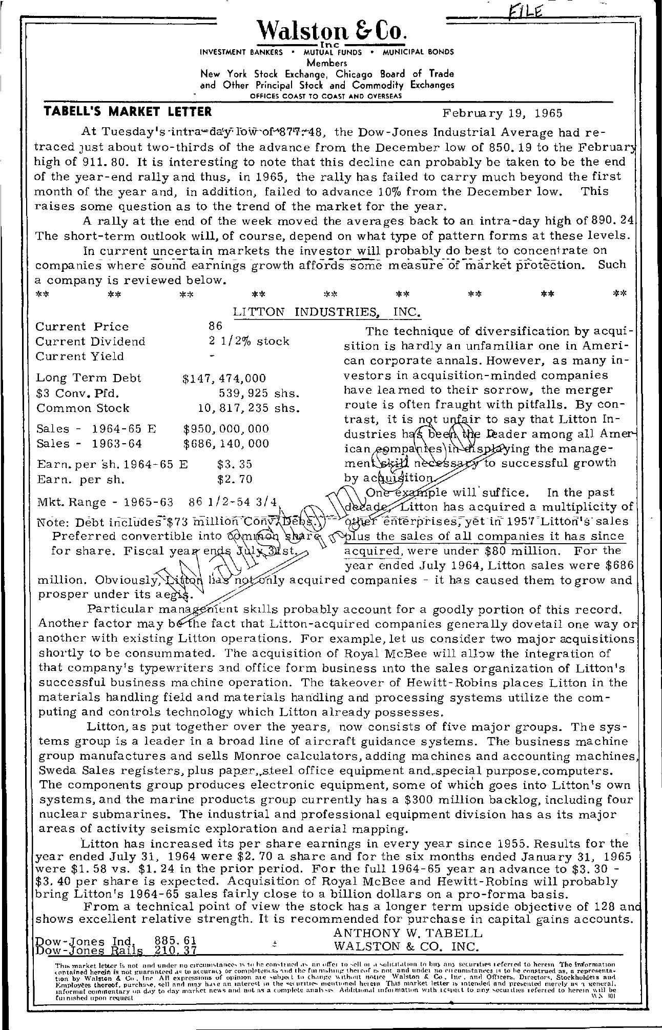 Tabell's Market Letter - February 19, 1965