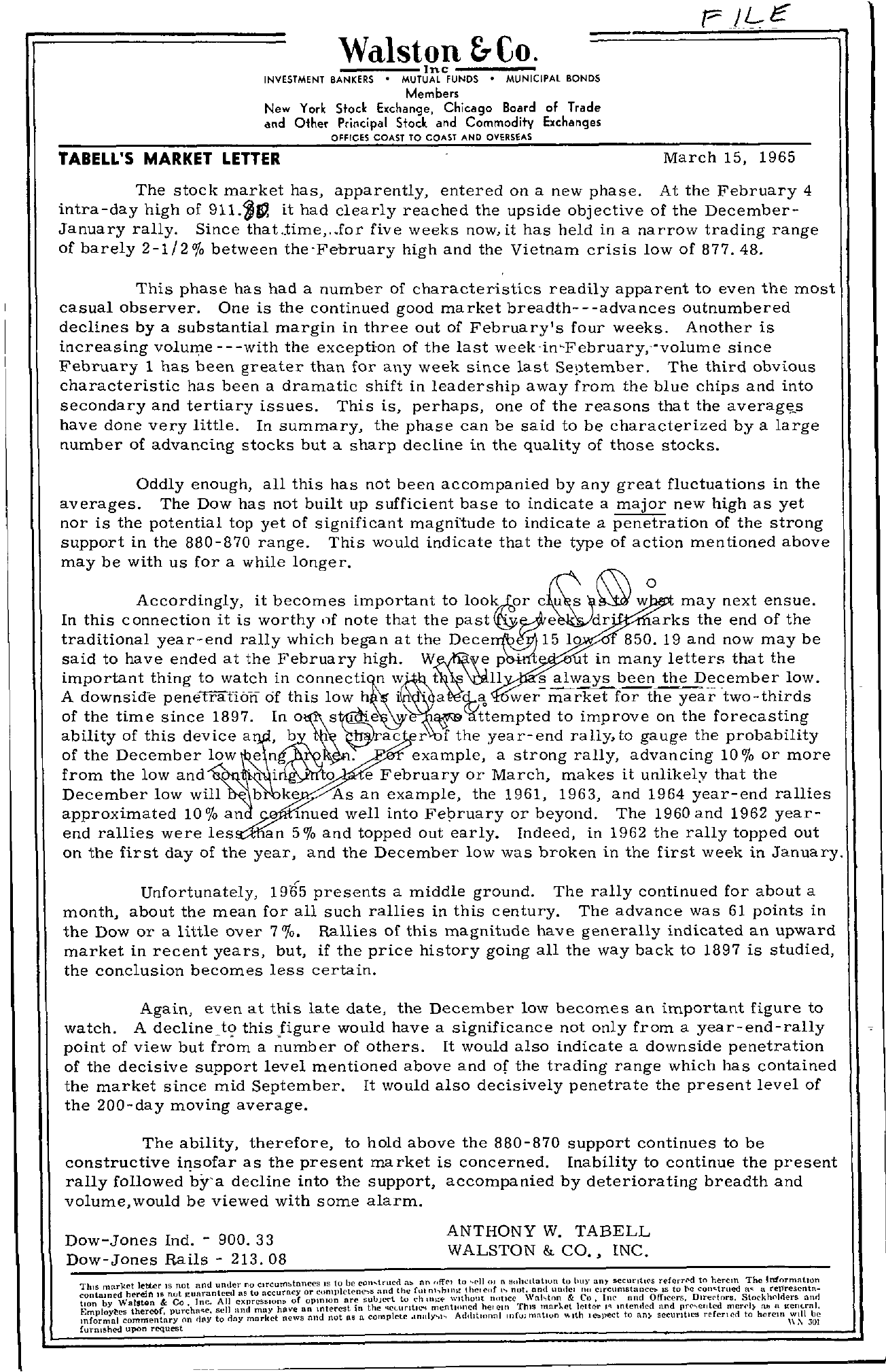 Tabell's Market Letter - March 15, 1965