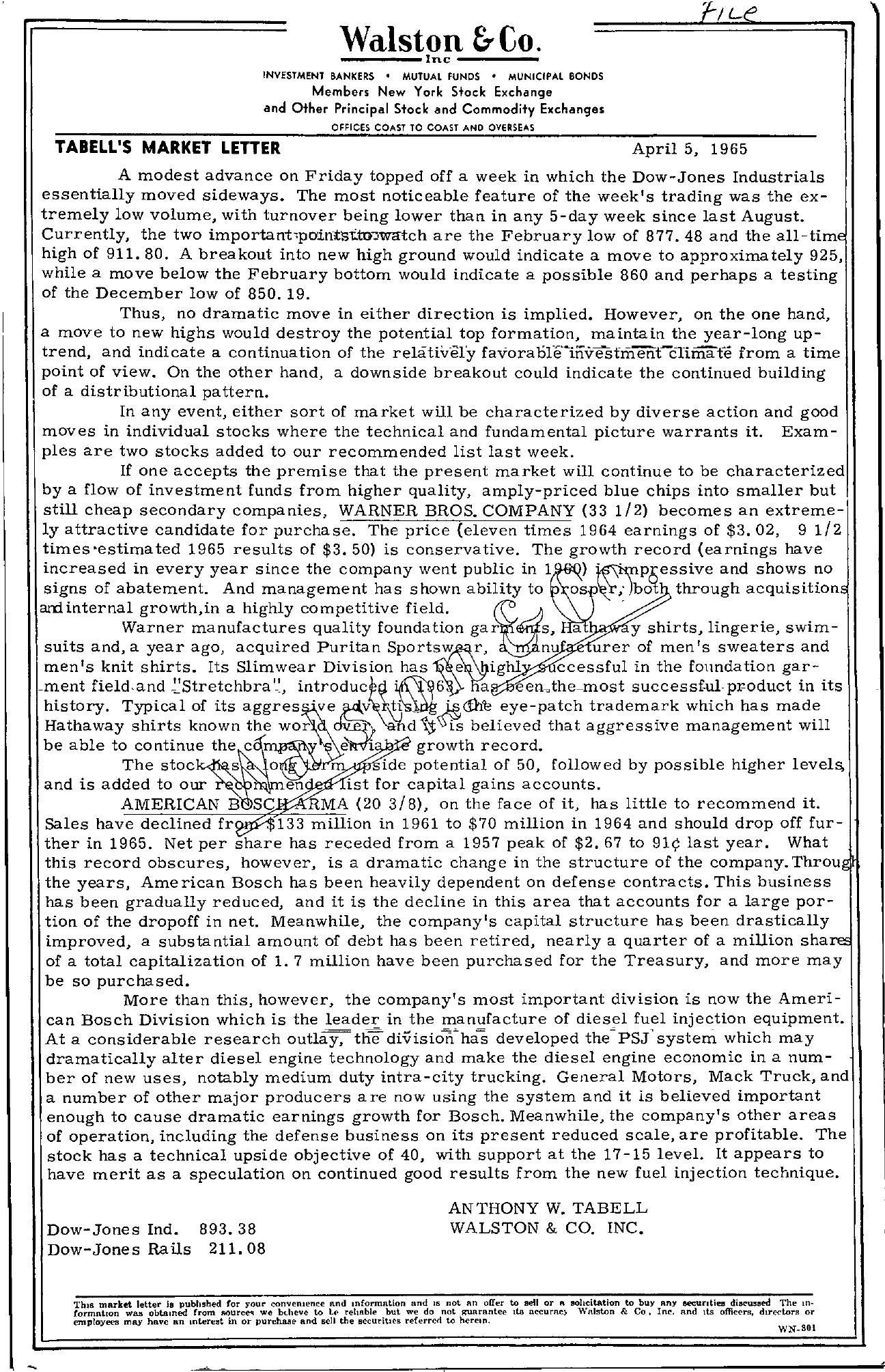 Tabell's Market Letter - April 05, 1965