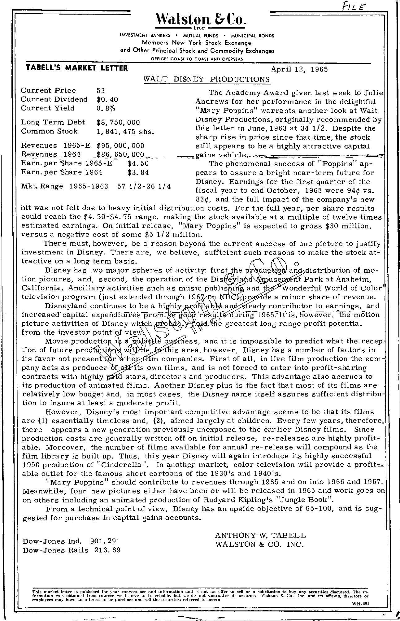 Tabell's Market Letter - April 12, 1965