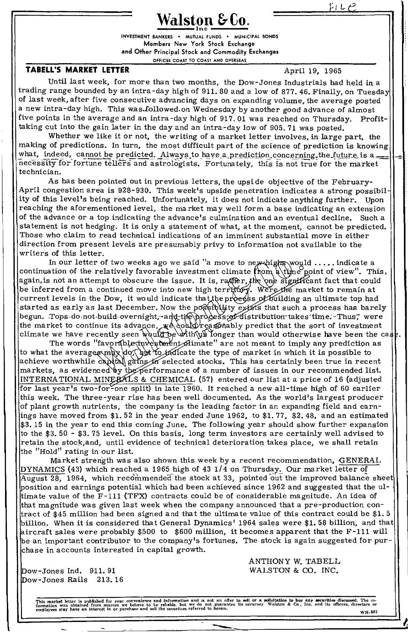 Tabell's Market Letter - April 19, 1965