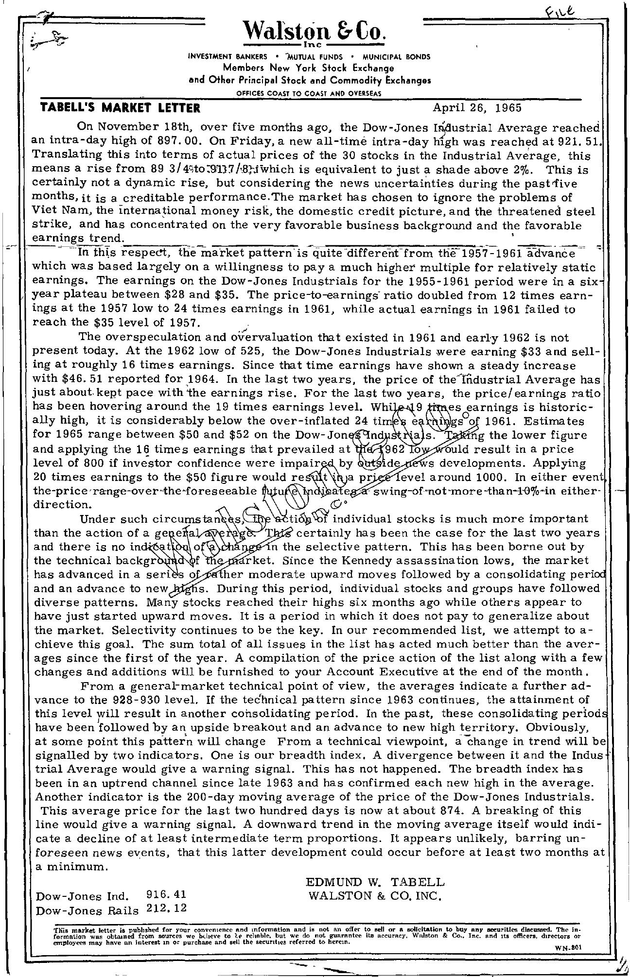 Tabell's Market Letter - April 26, 1965