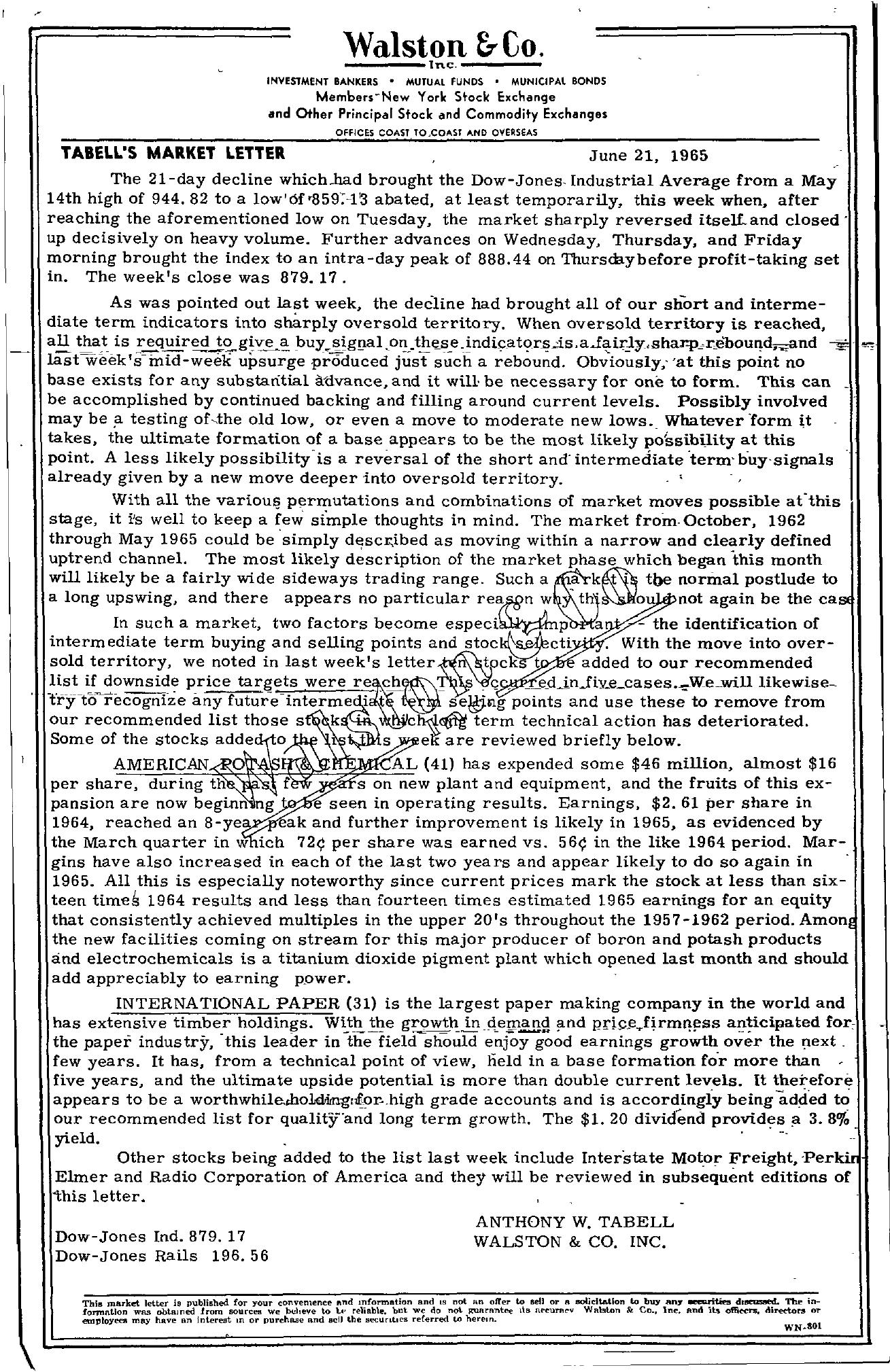 Tabell's Market Letter - June 21, 1965