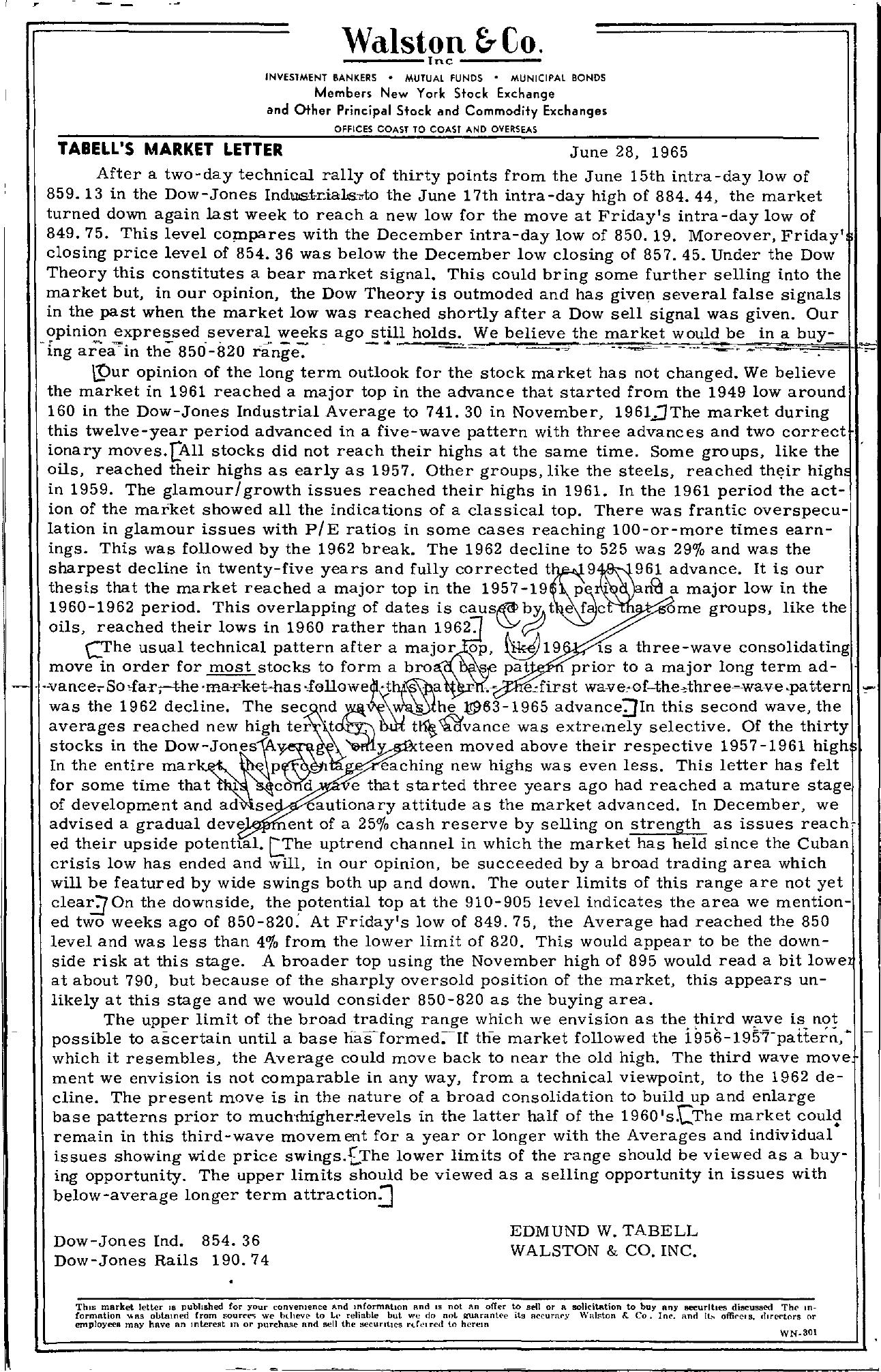 Tabell's Market Letter - June 28, 1965